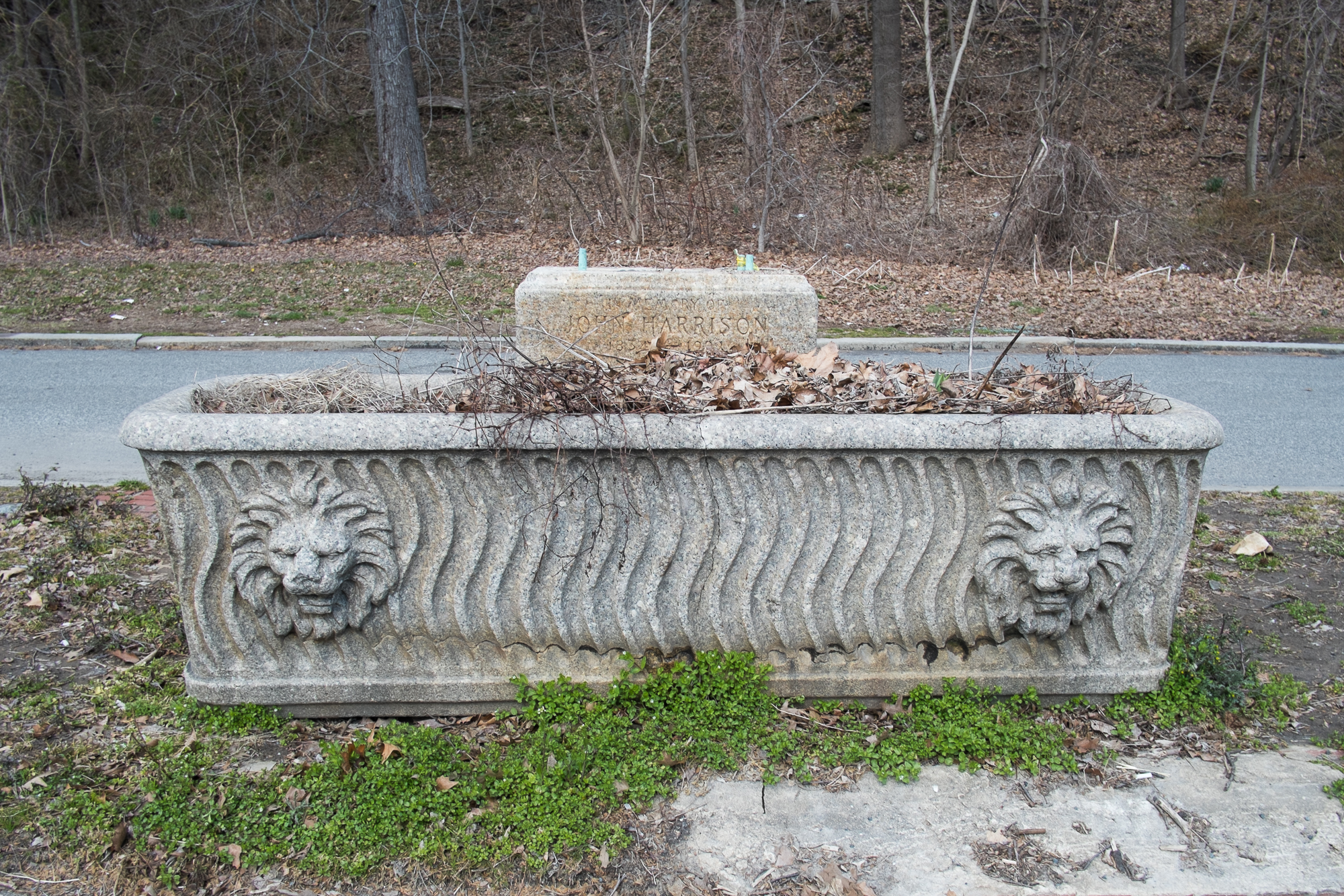 This silted up trough with the lion's head motif was donated to the memory of John Harrison, sits along Kelly Drive near Fountain Green.