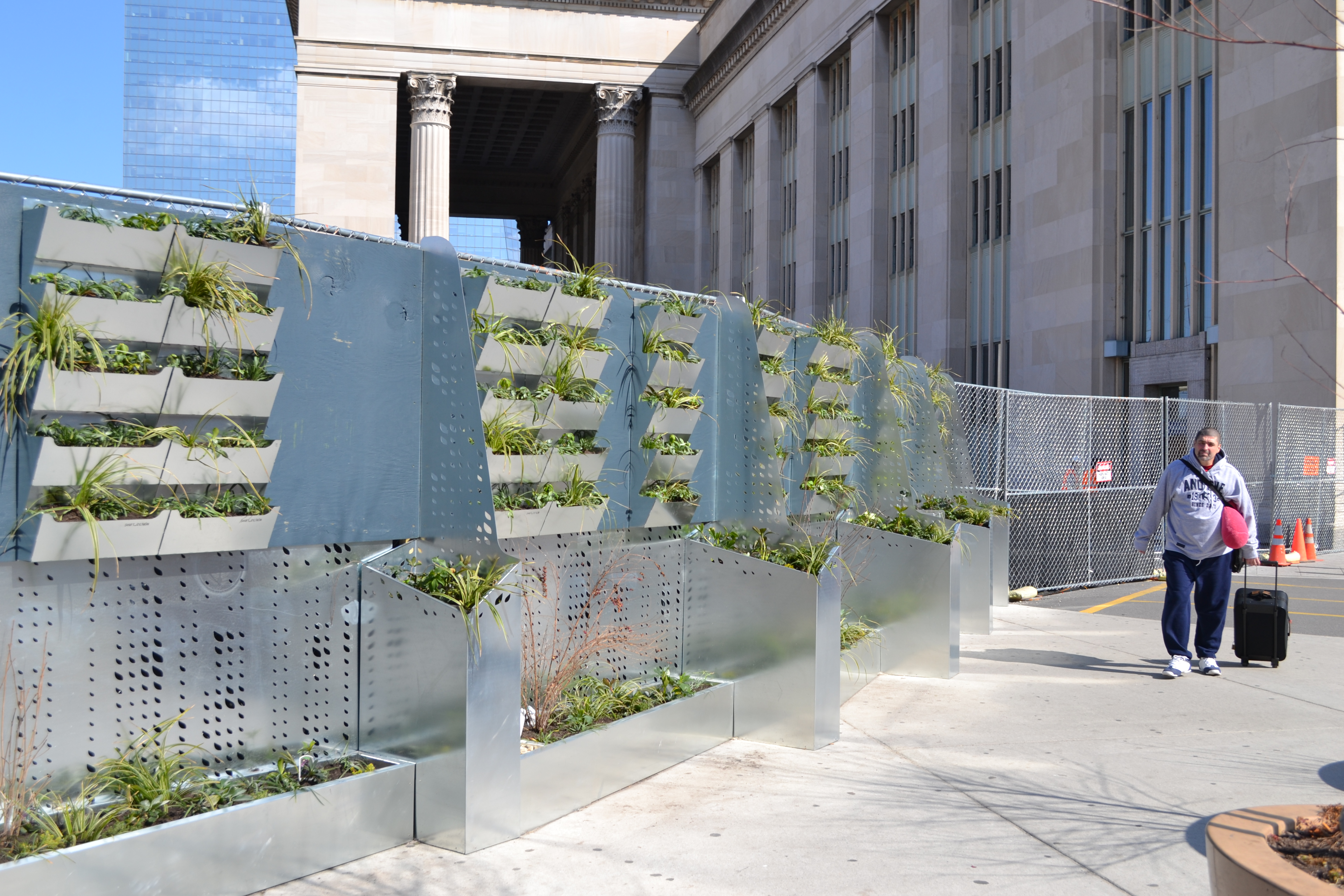 University City District installed modular plant walls to hide construction near The Porch