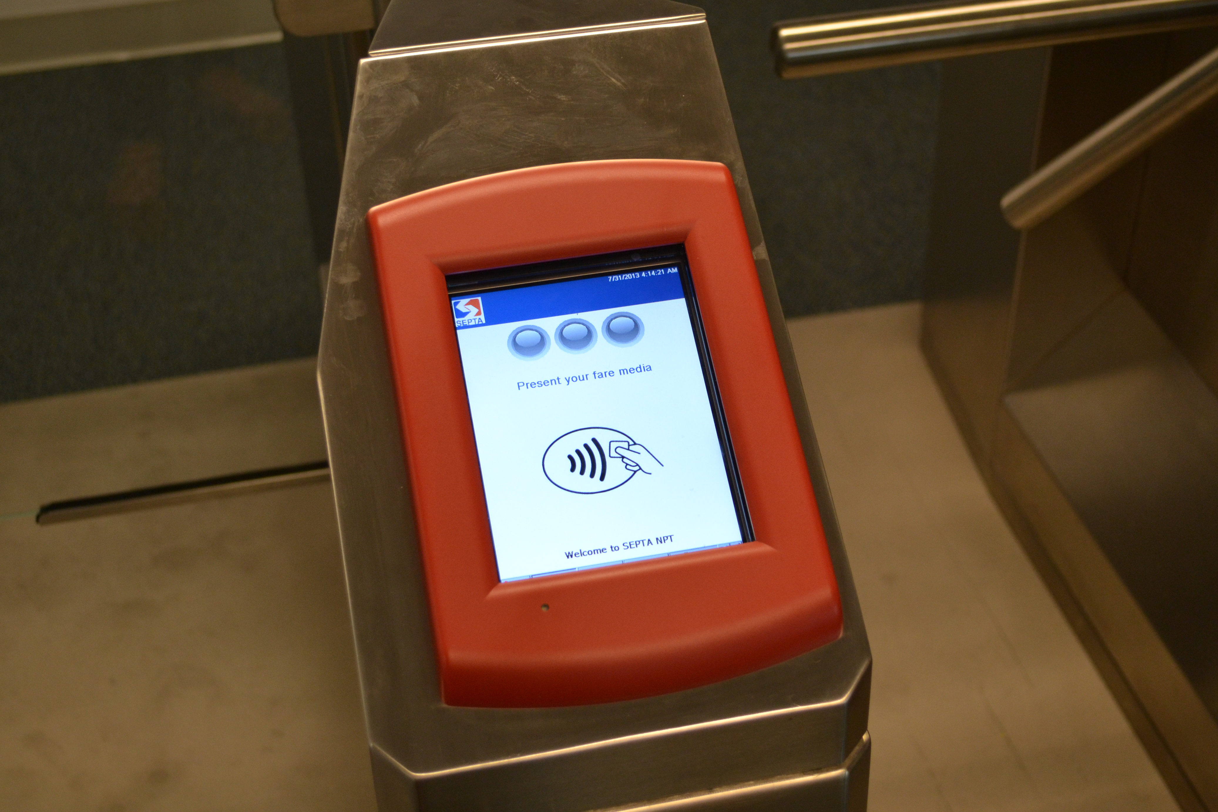 With NPT, passengers will tap a smartcard or NFC chip equipped device on an electronic reader