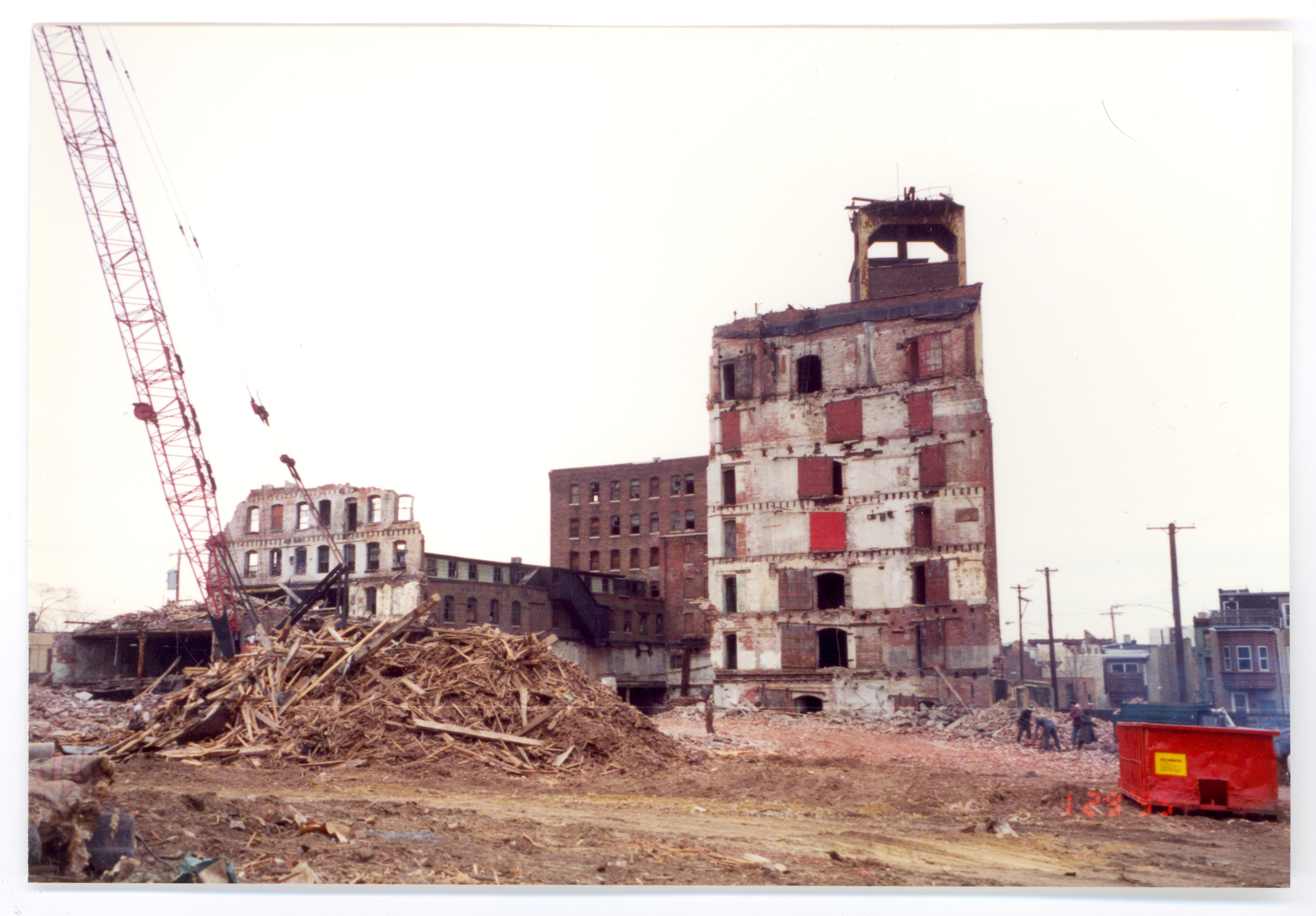 1995 demolition of Burk Brothers complex, photo by Jennifer Baker