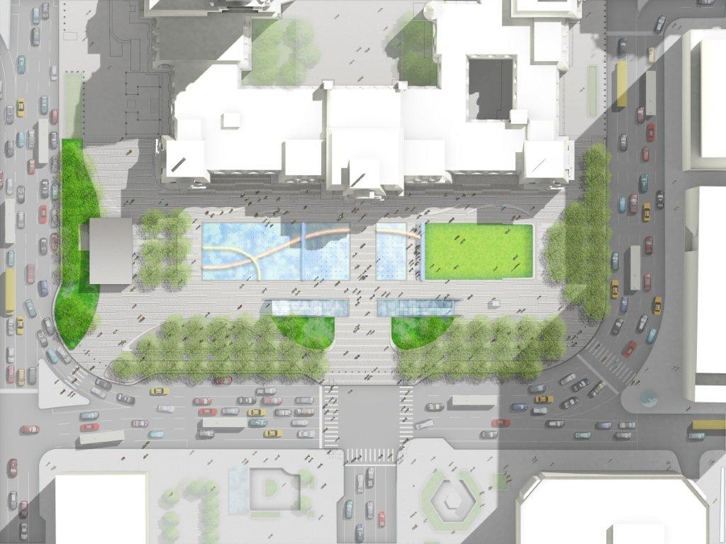 Aerial rendering of redesigned Dilworth Plaza.