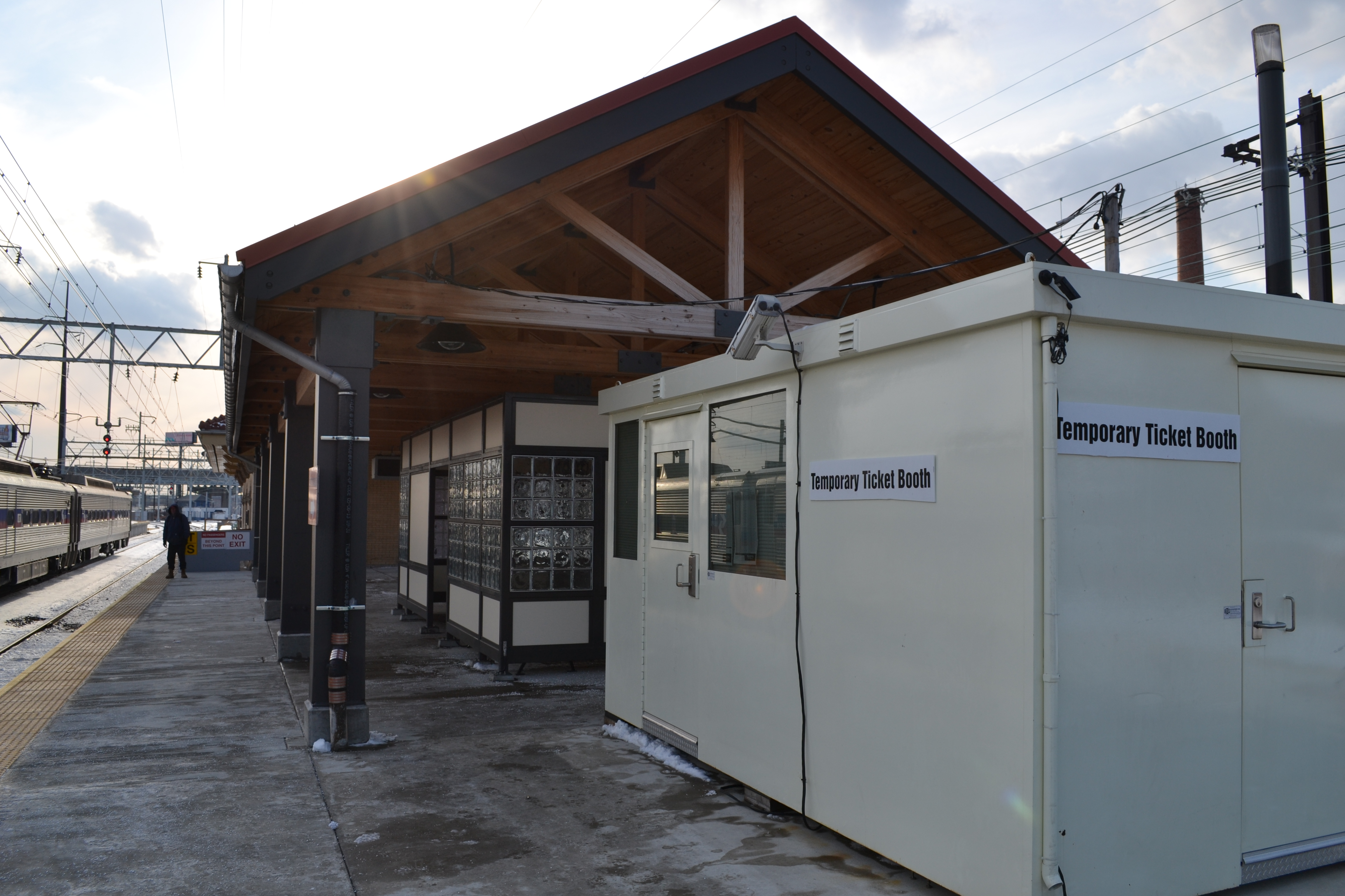 A temporary ticket booth was set up so crews can work on the station building