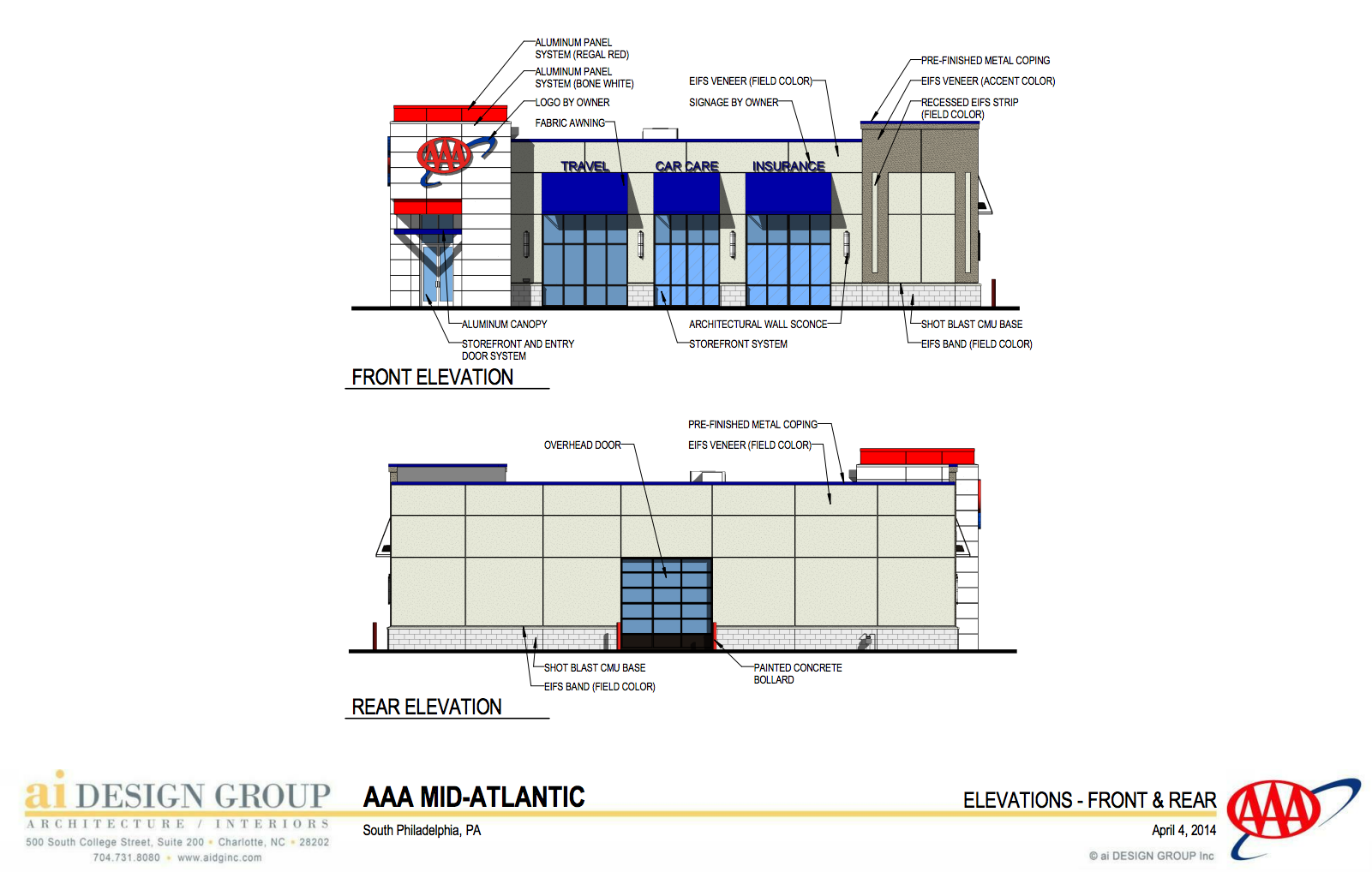 AAA elevations front and rear