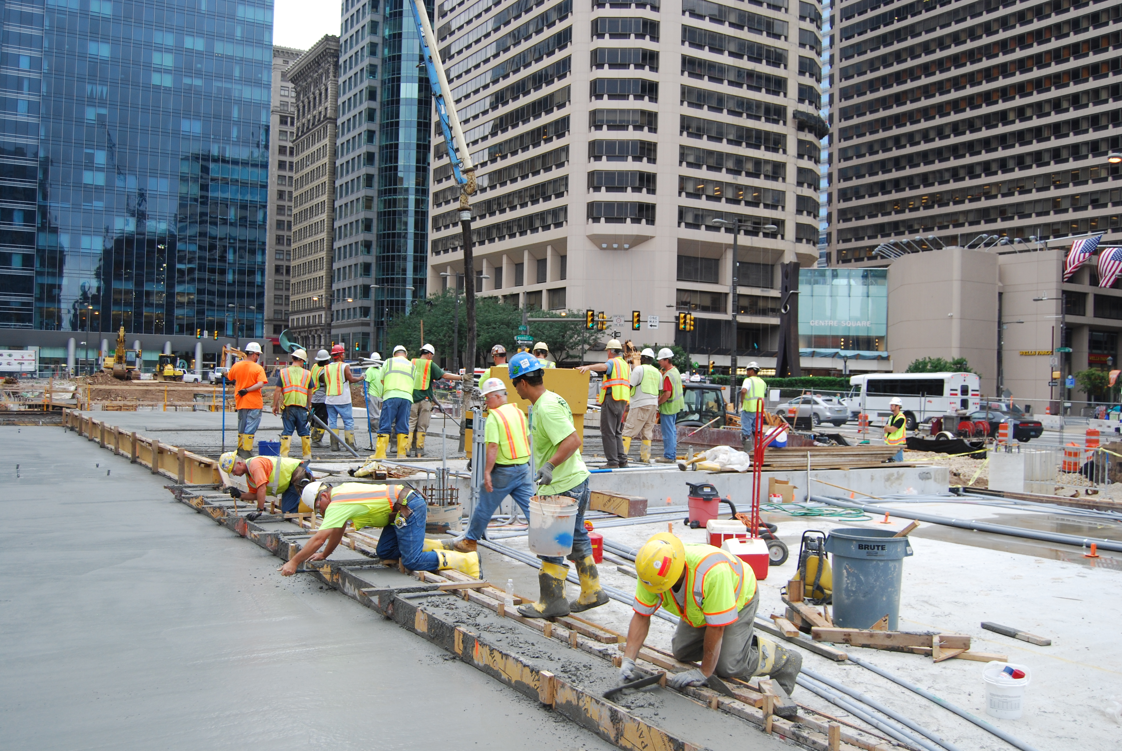 About 60 percent of the concrete slab has been poured. Photo courtesy of Center City District