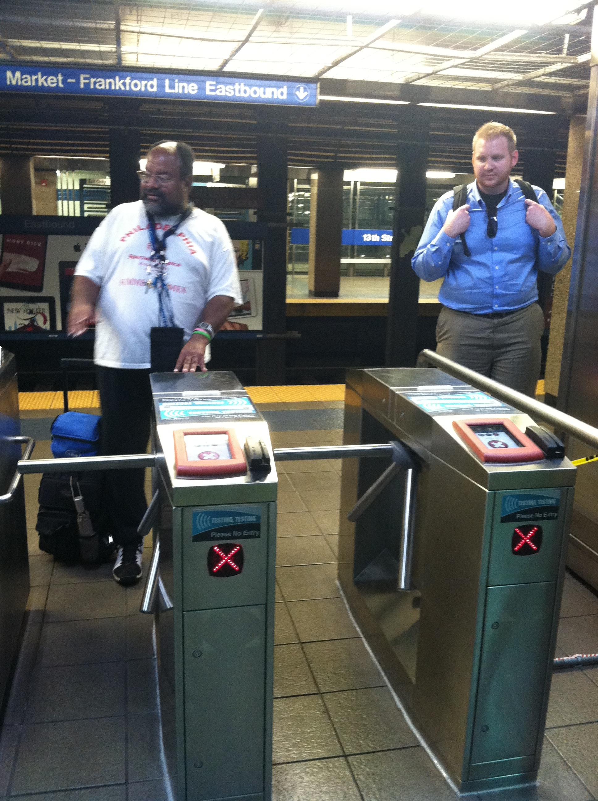 Advanced test pilot turnstiles at 13th Street Station