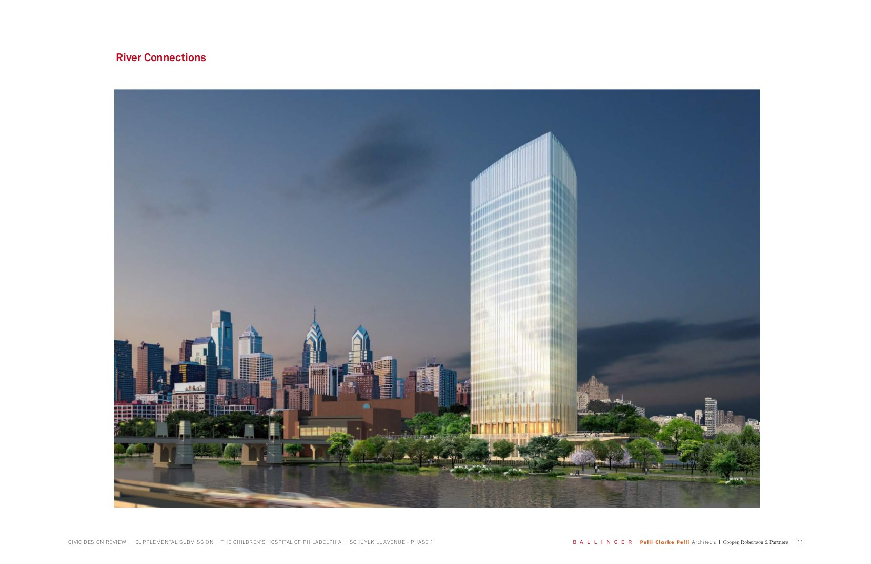 CHOP's new rendering, facing the river. Pelli Clarke Pelli architects.