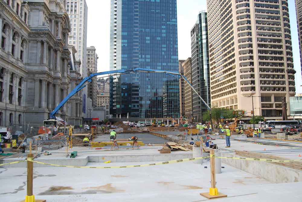 Concrete being poured in August 2013. The project is expected to be complete in September. Photo courtesy of Center City District