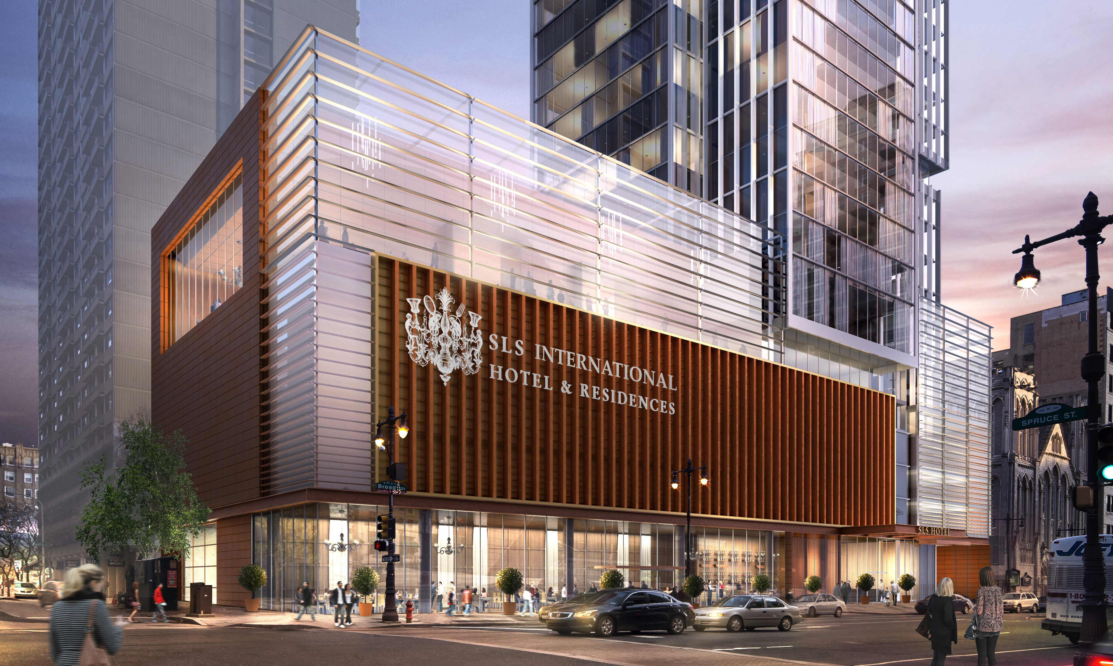 Dranoff's SLS International, Broad and Spruce. Rendering courtesy KPF Associates