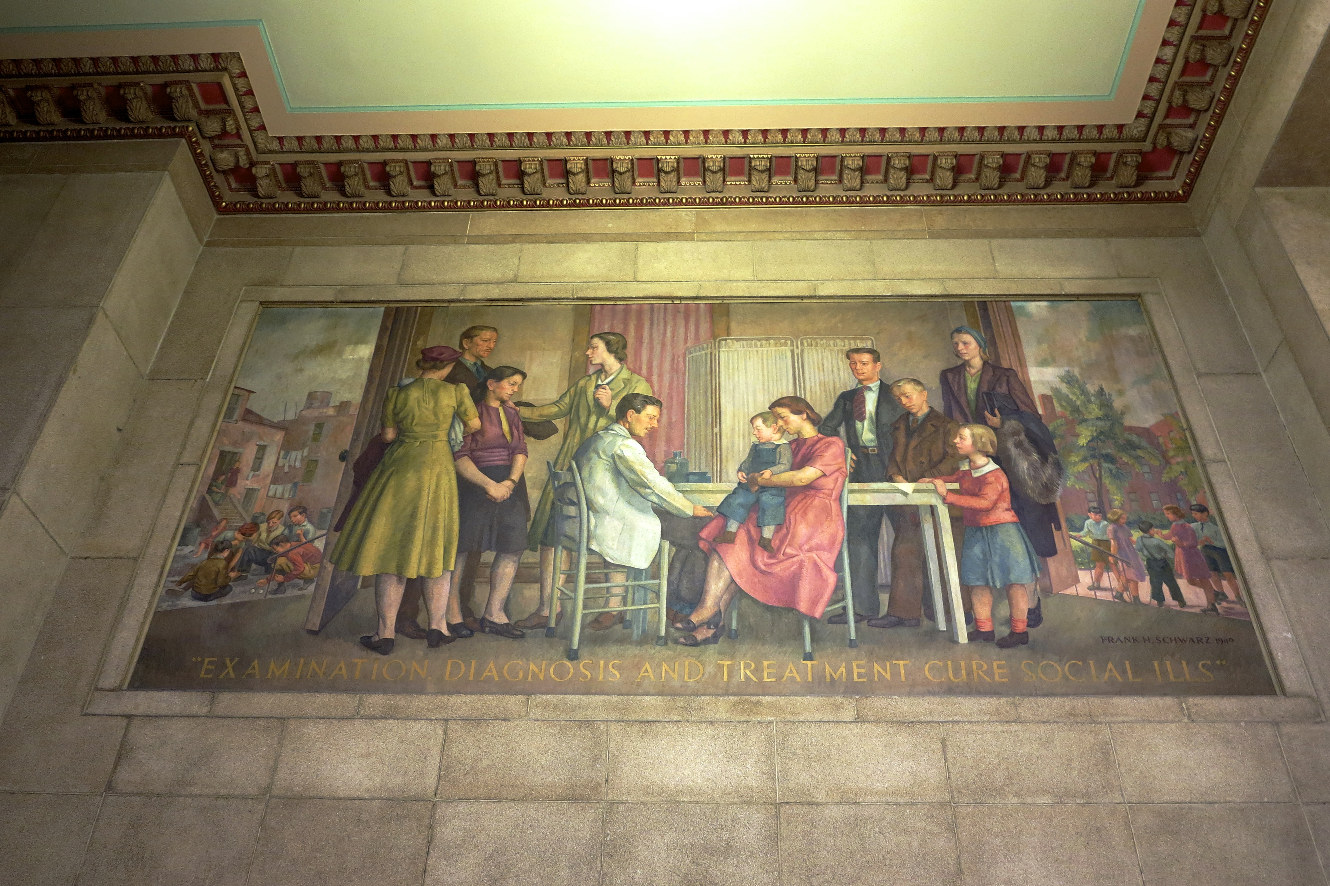 Examination diagnosis and treatment cure social ills - Elevator bank mural by Frank H Schwartz