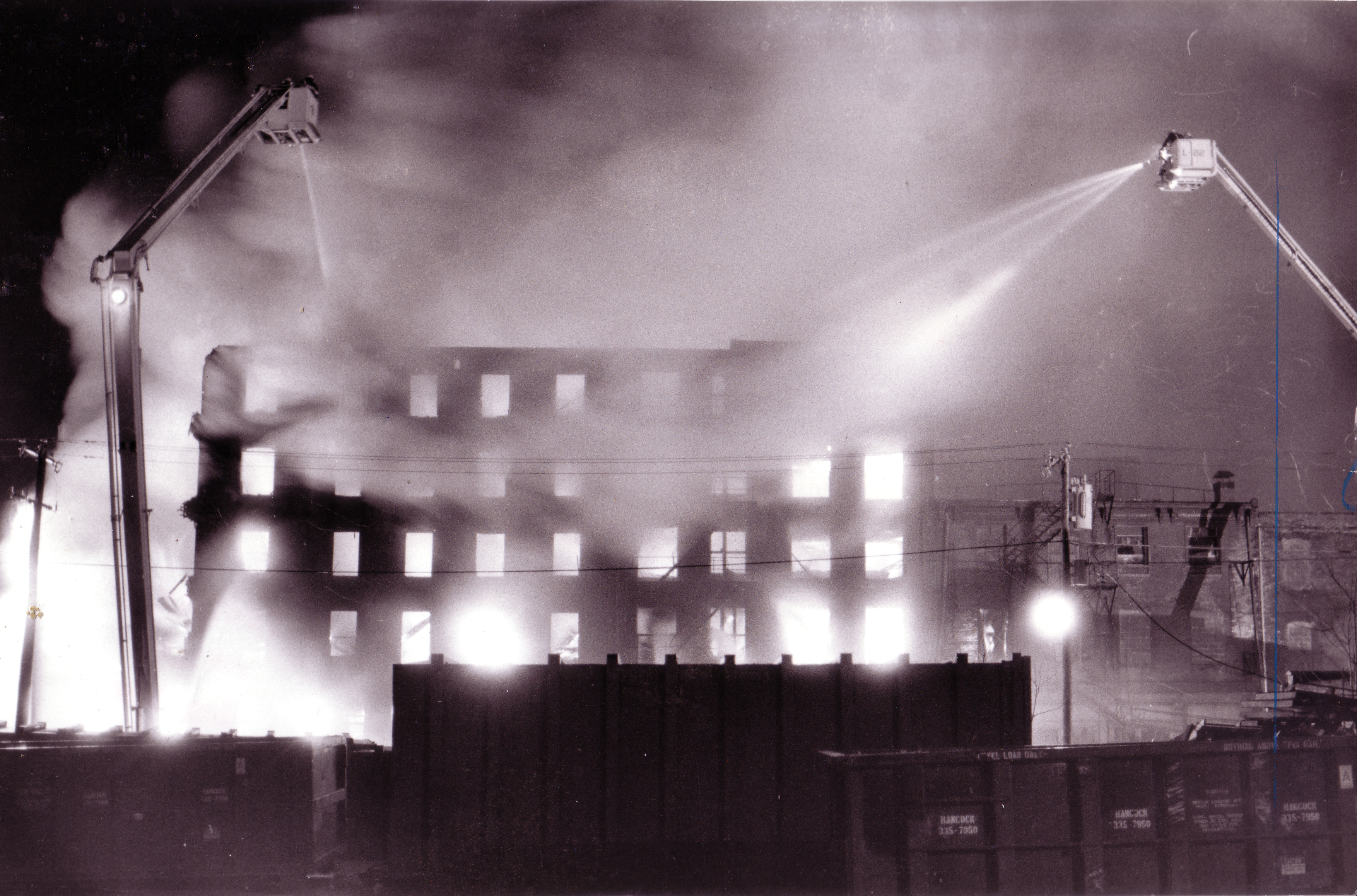 Fire consumes the Karff-Eisemann Company, which processed cotton for quilting, at 415 Brown St.
