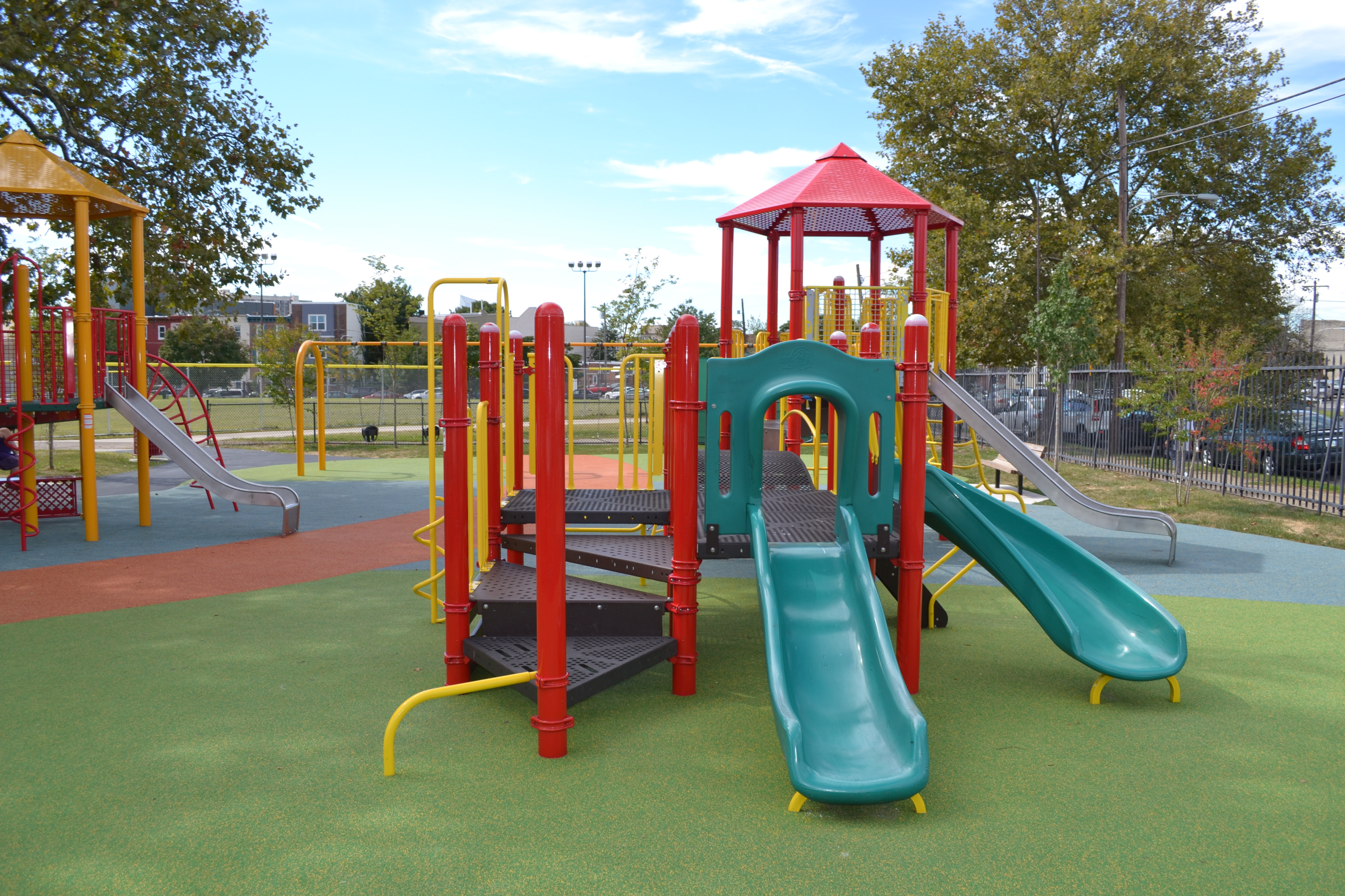 Francisville Playground's new, bright play equipment