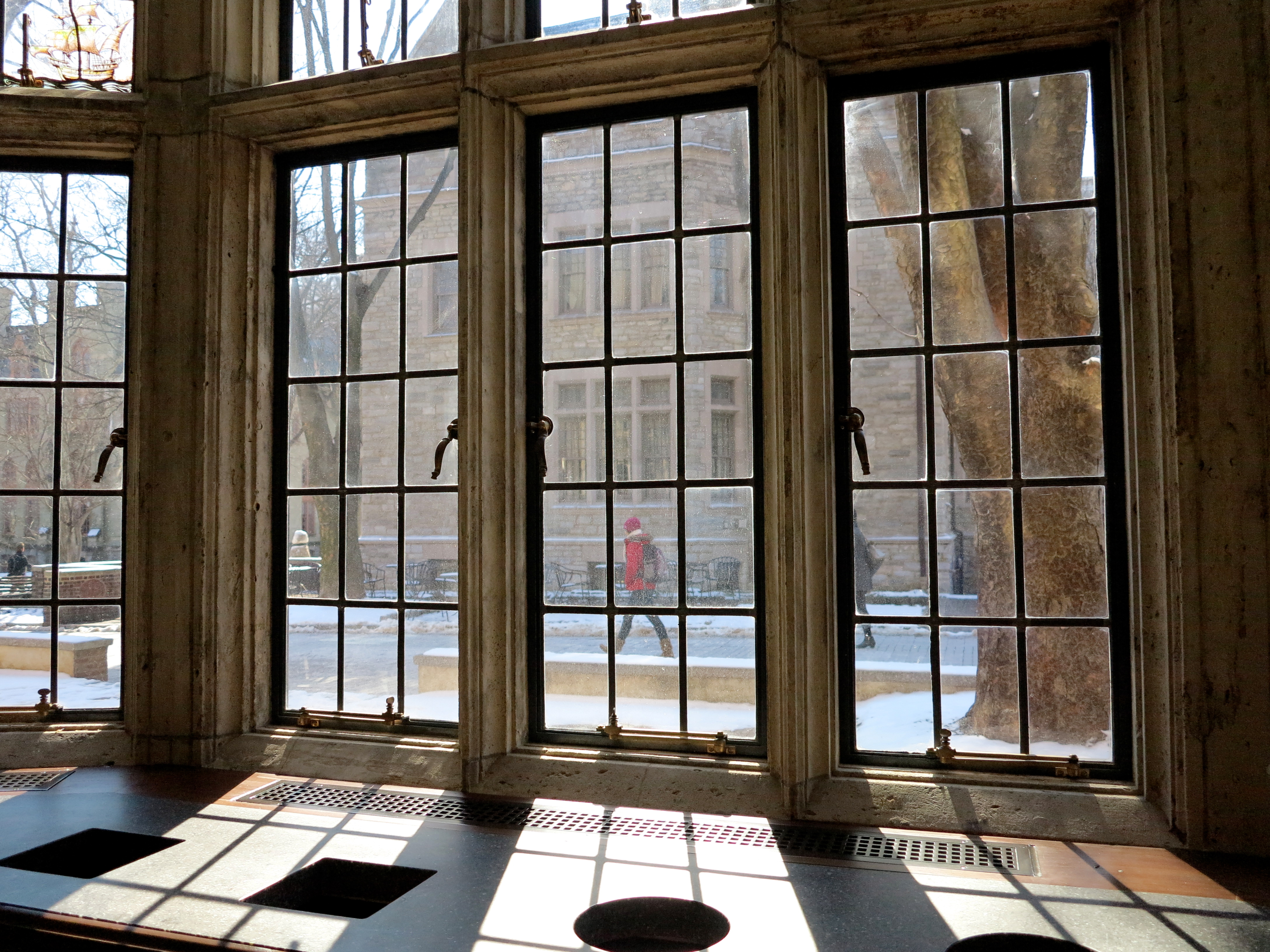 Historic leaded glass windows were restored and let light stream in.
