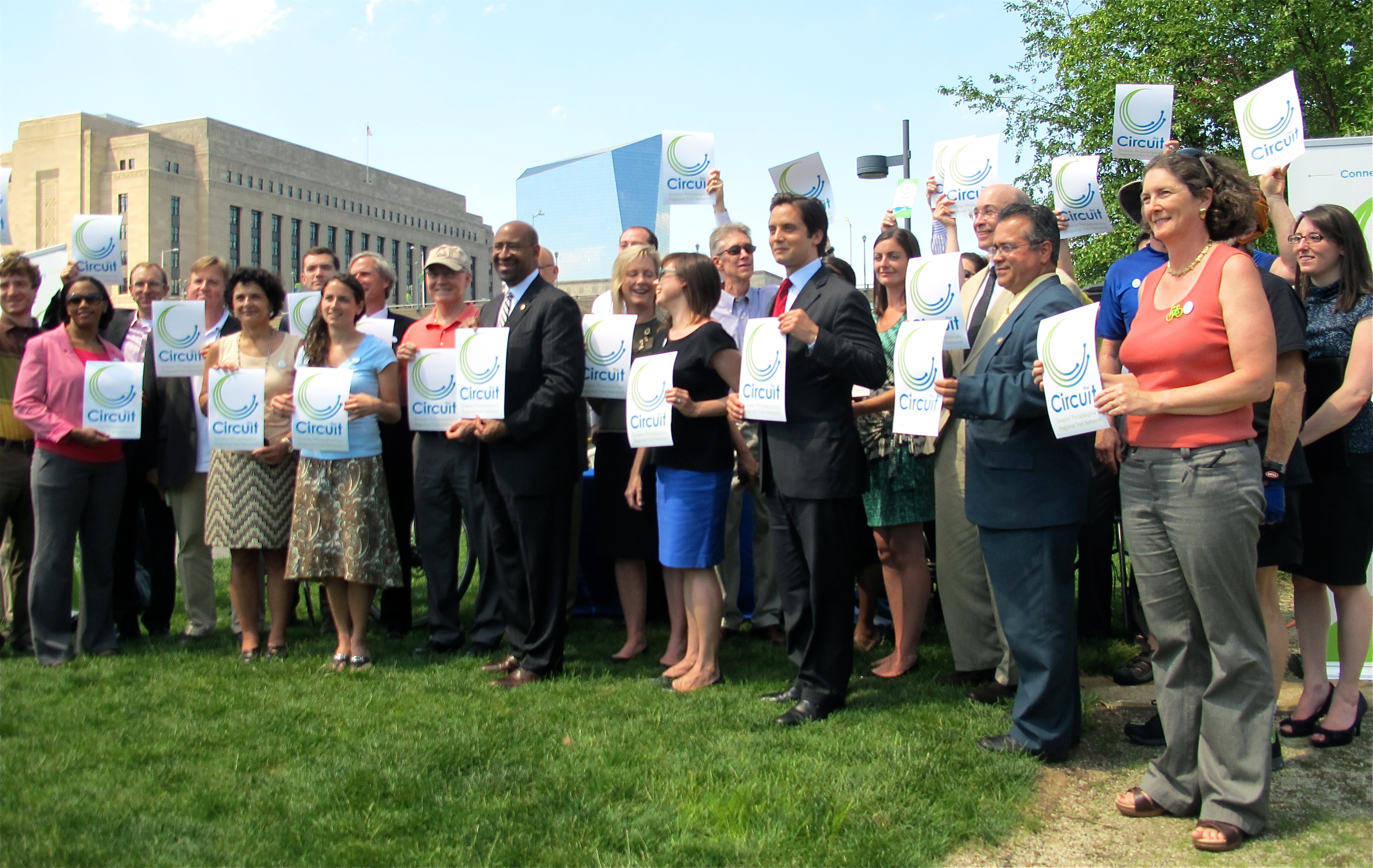 (A big-tent coalition gathered at the Schuylkill Banks Thursday to announce The Circuit.)