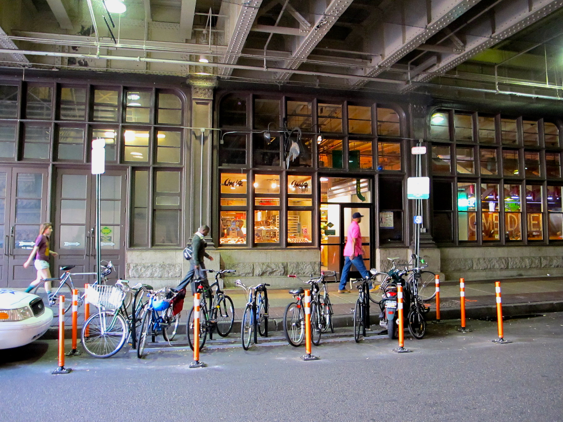 The city installed a bike corral outside of Reading Terminal  Market on Filbert Street in 2012.