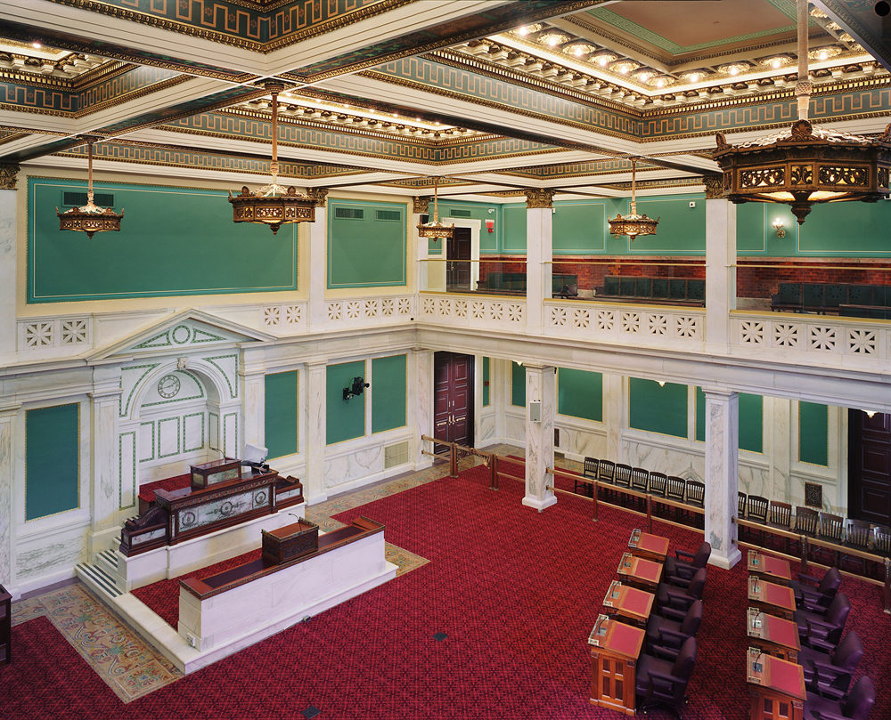 A view of the Council Chamber from the balcony.