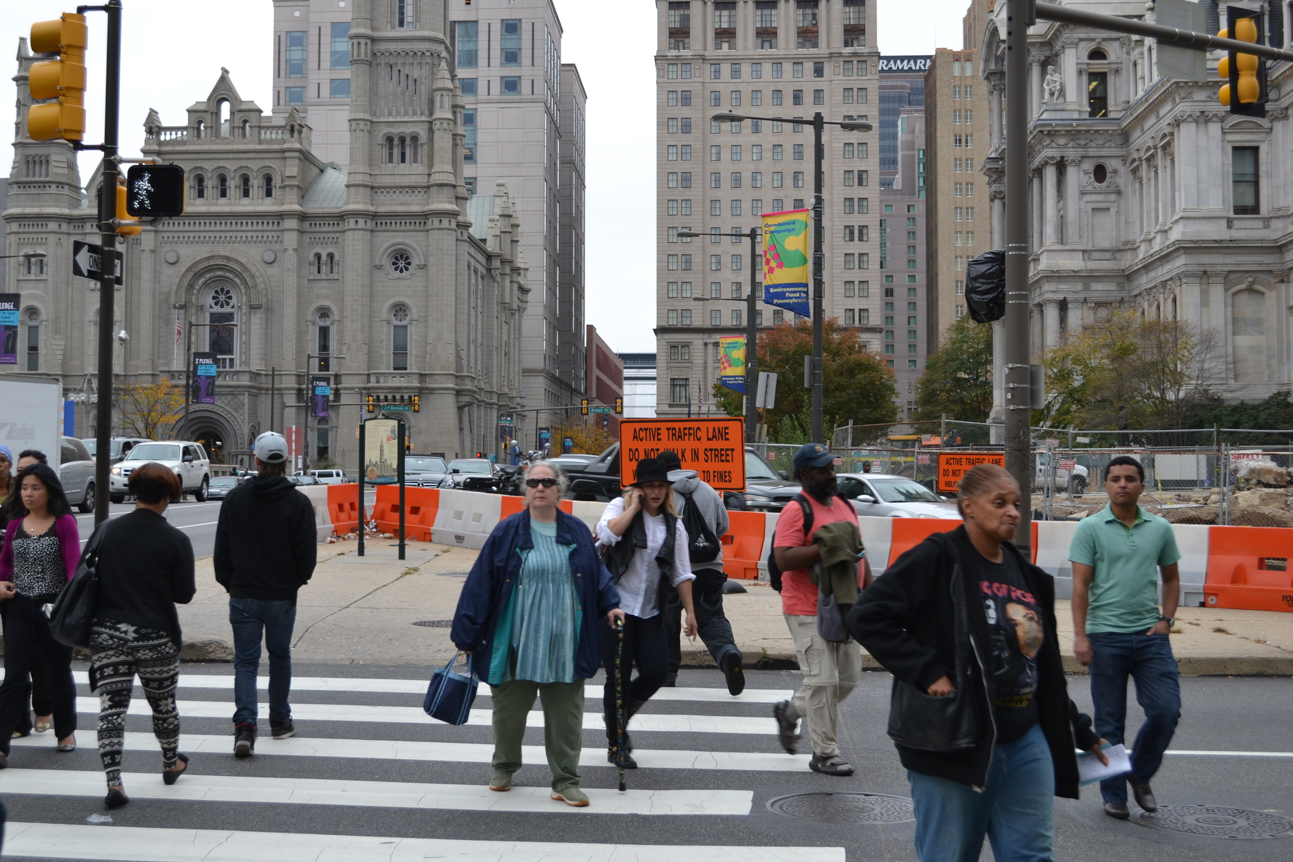 Part of the pedestrian triangle between JFK Boulevard, 15th Street and Dilworth Plaza has been barricaded