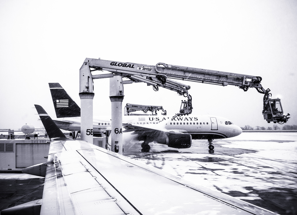 Ice blasters, snowy tarmac, Philadelphia International Airport | Theresa Stigale