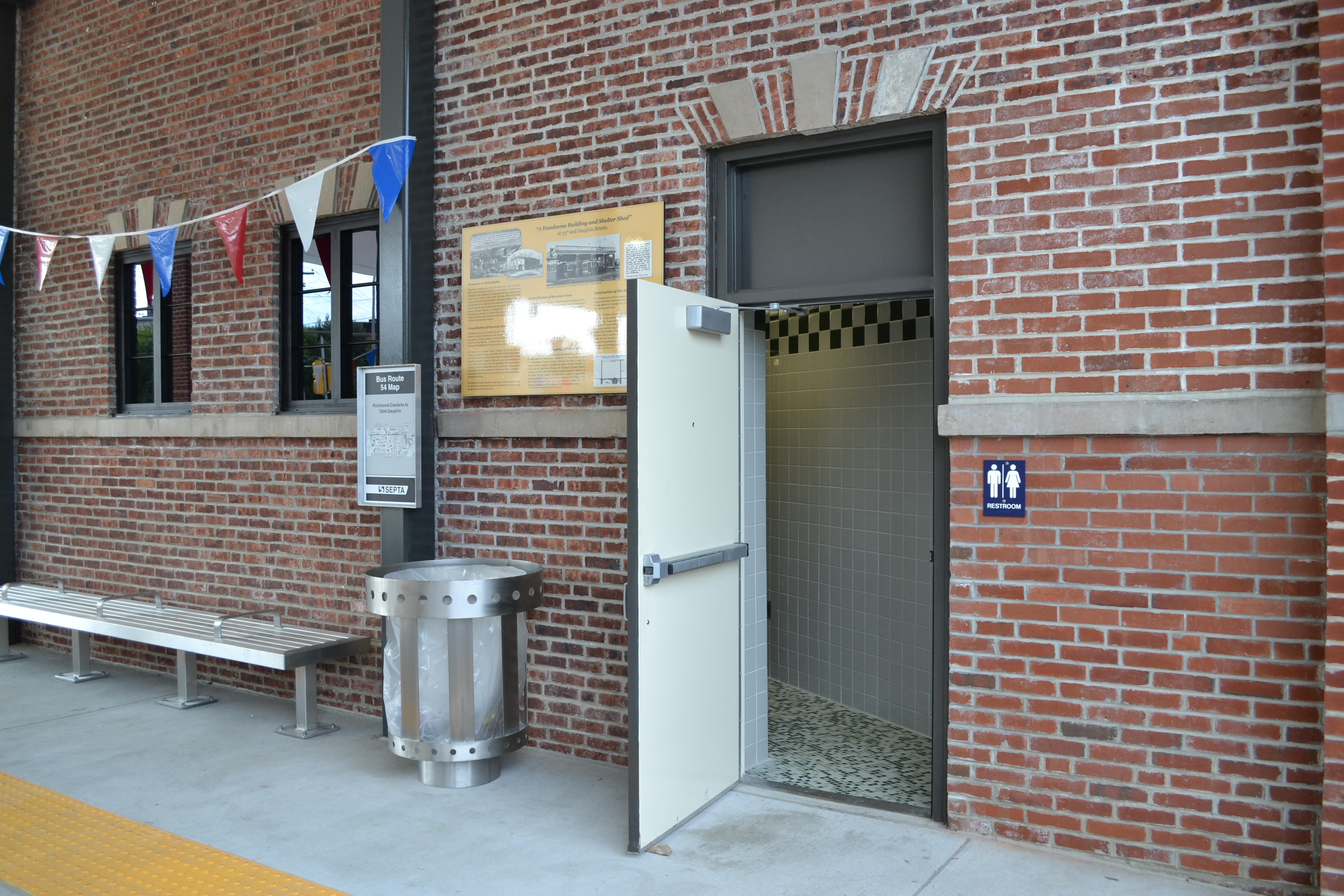 In addition to shelter, the bus loop provides bathrooms for passengers and SEPTA employees