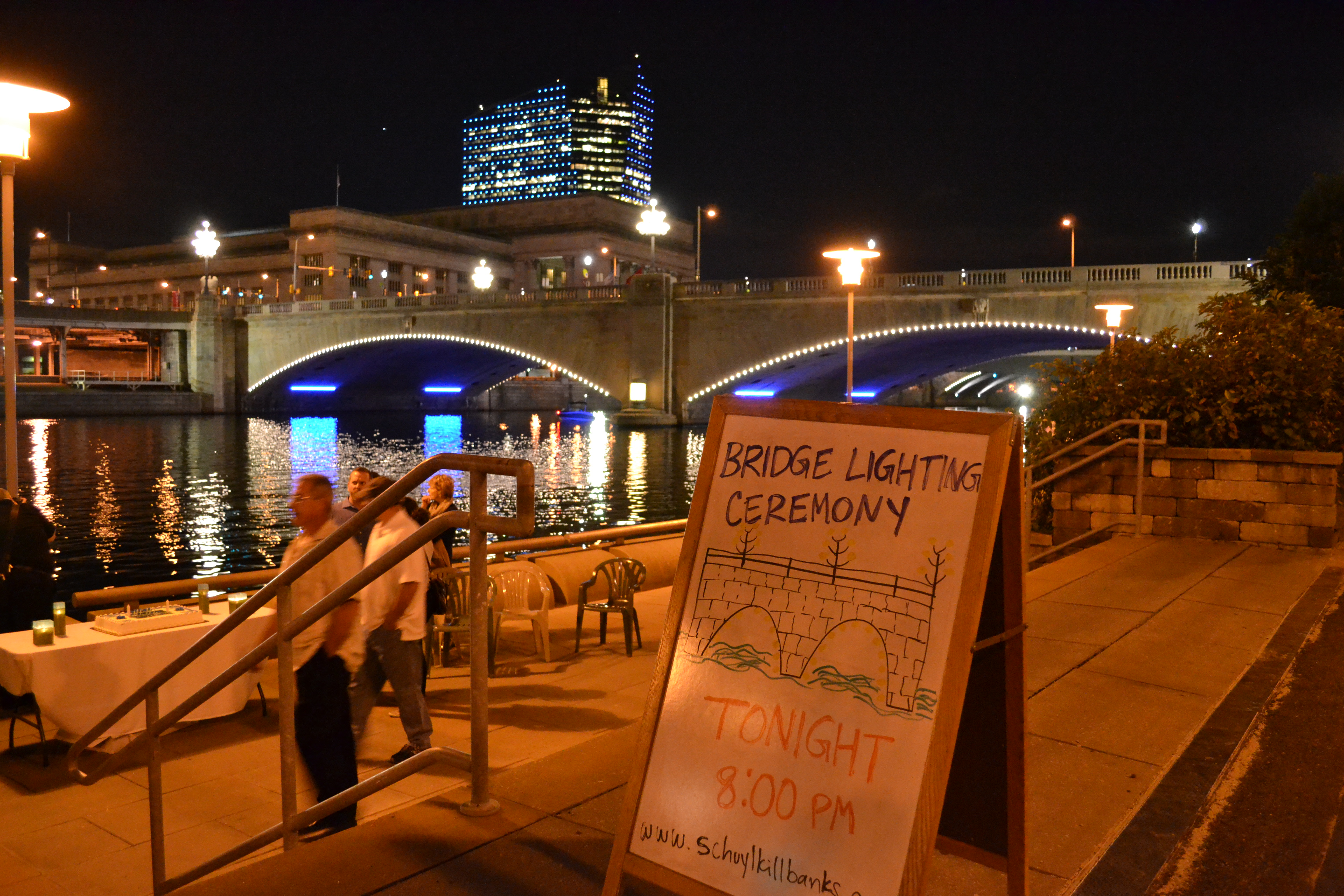 In addition to the bridge lighting, festivities included dessert and a stroll along the trail