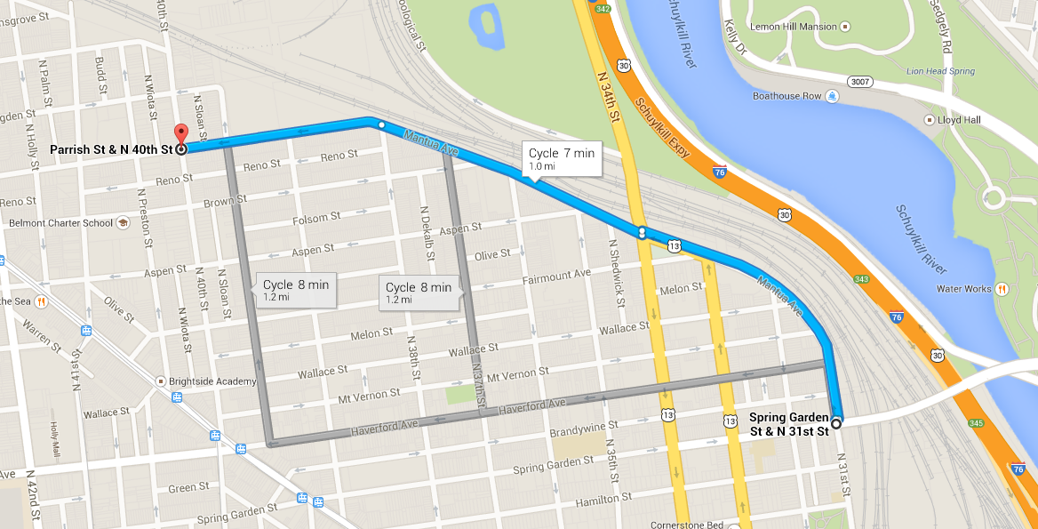 Mantua Greenway will stretch from 31st and Spring Garden to 40th and Parrish. Shown here in the blue line