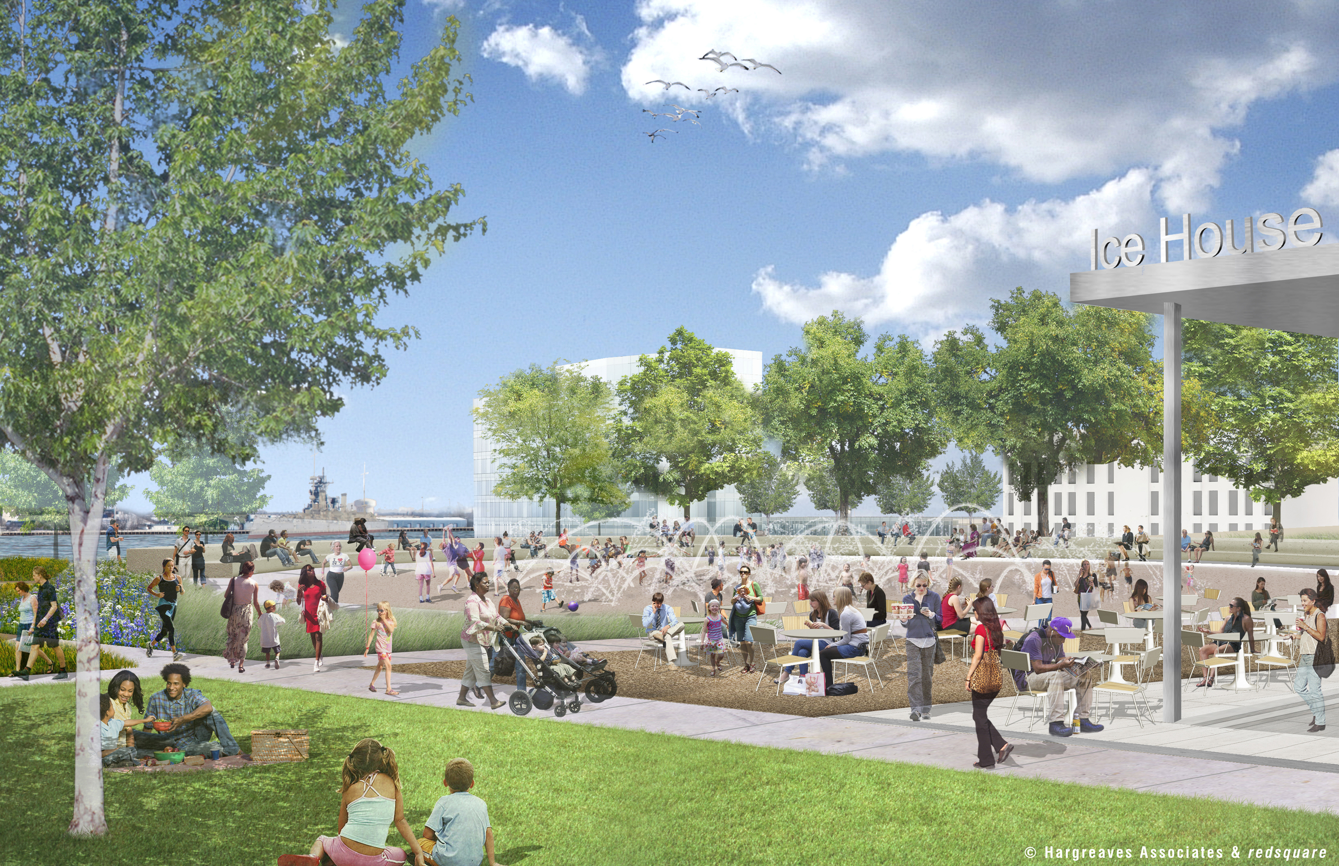 Penn's Landing Park in summer with sprayground,© Hargreaves Associates & redsquare