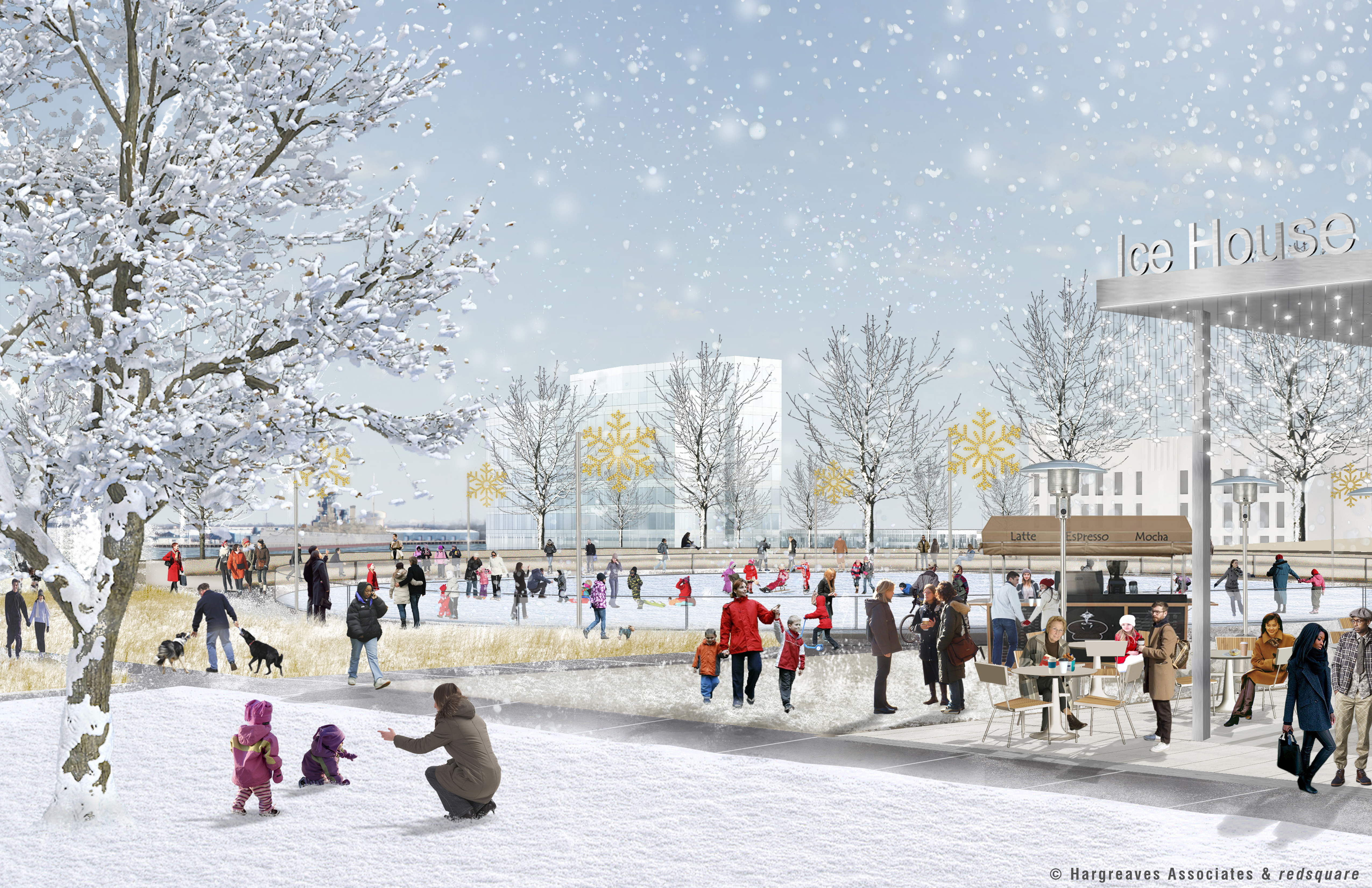 Penn's Landing Park in winter with ice rink, © Hargreaves Associates & redsquare