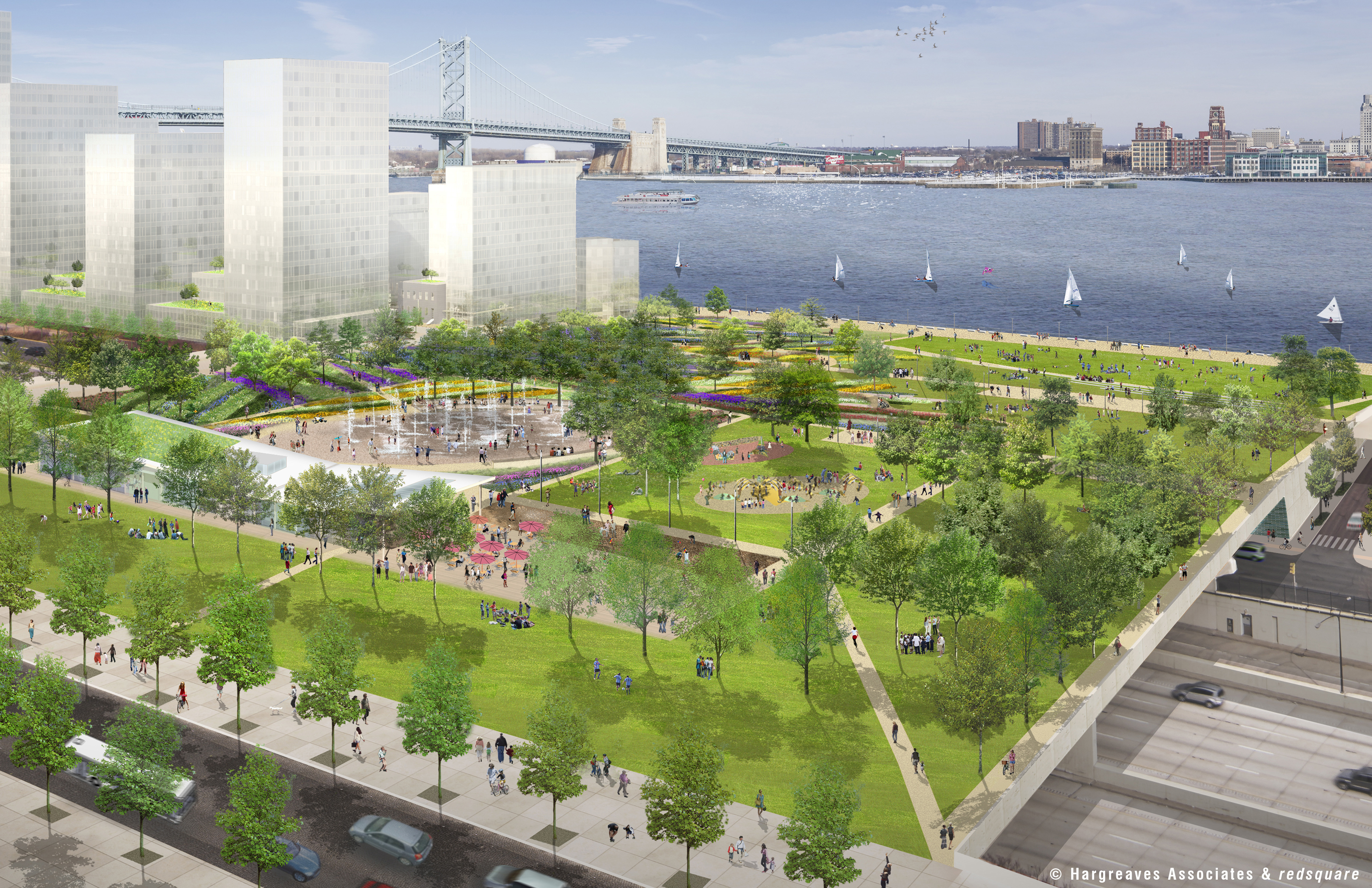 Penn's Landing Park looking east, © Hargreaves Associates & redsquare