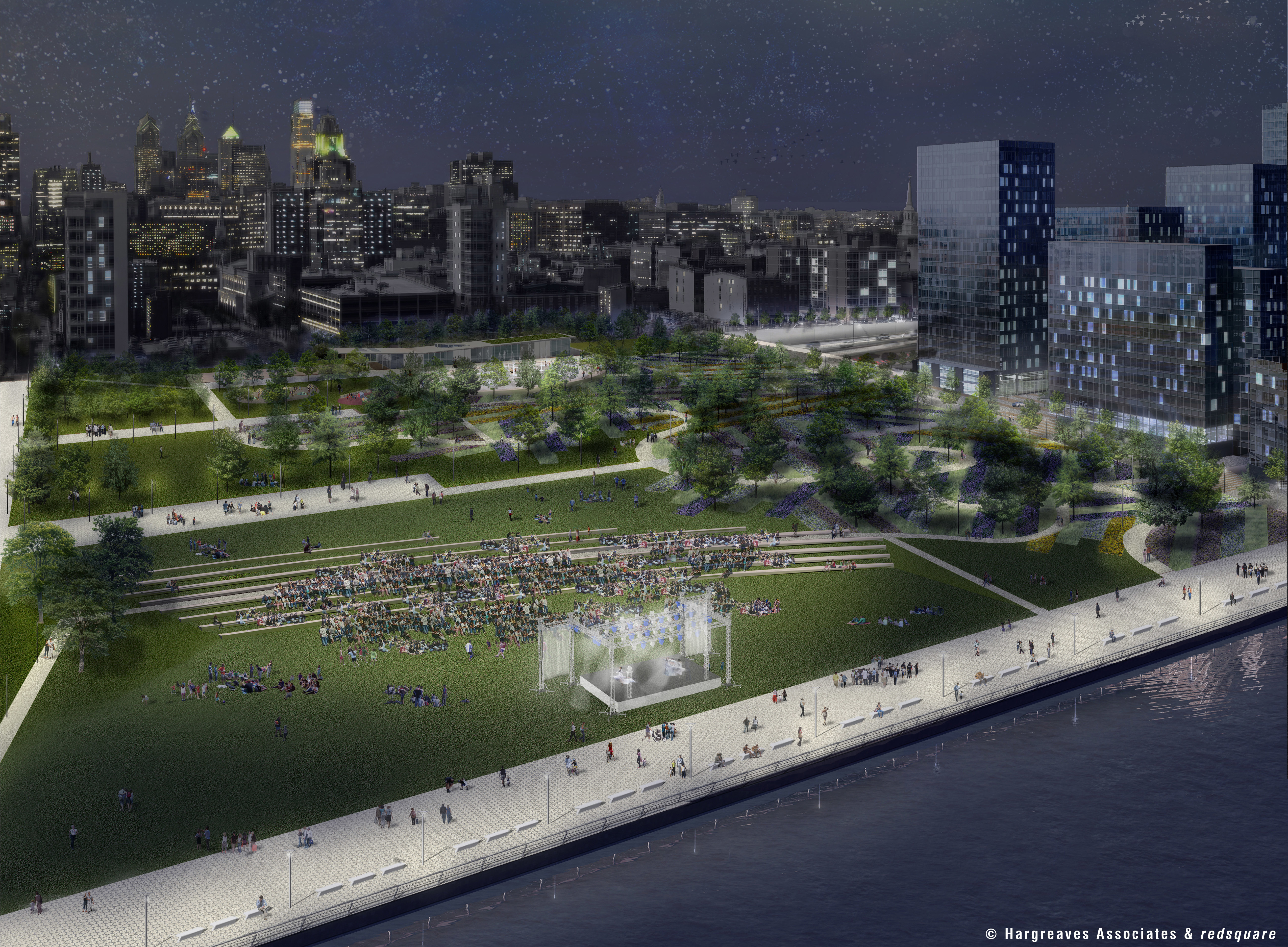 Penns Landing Park, night view, © Hargreaves Associates & redsquare