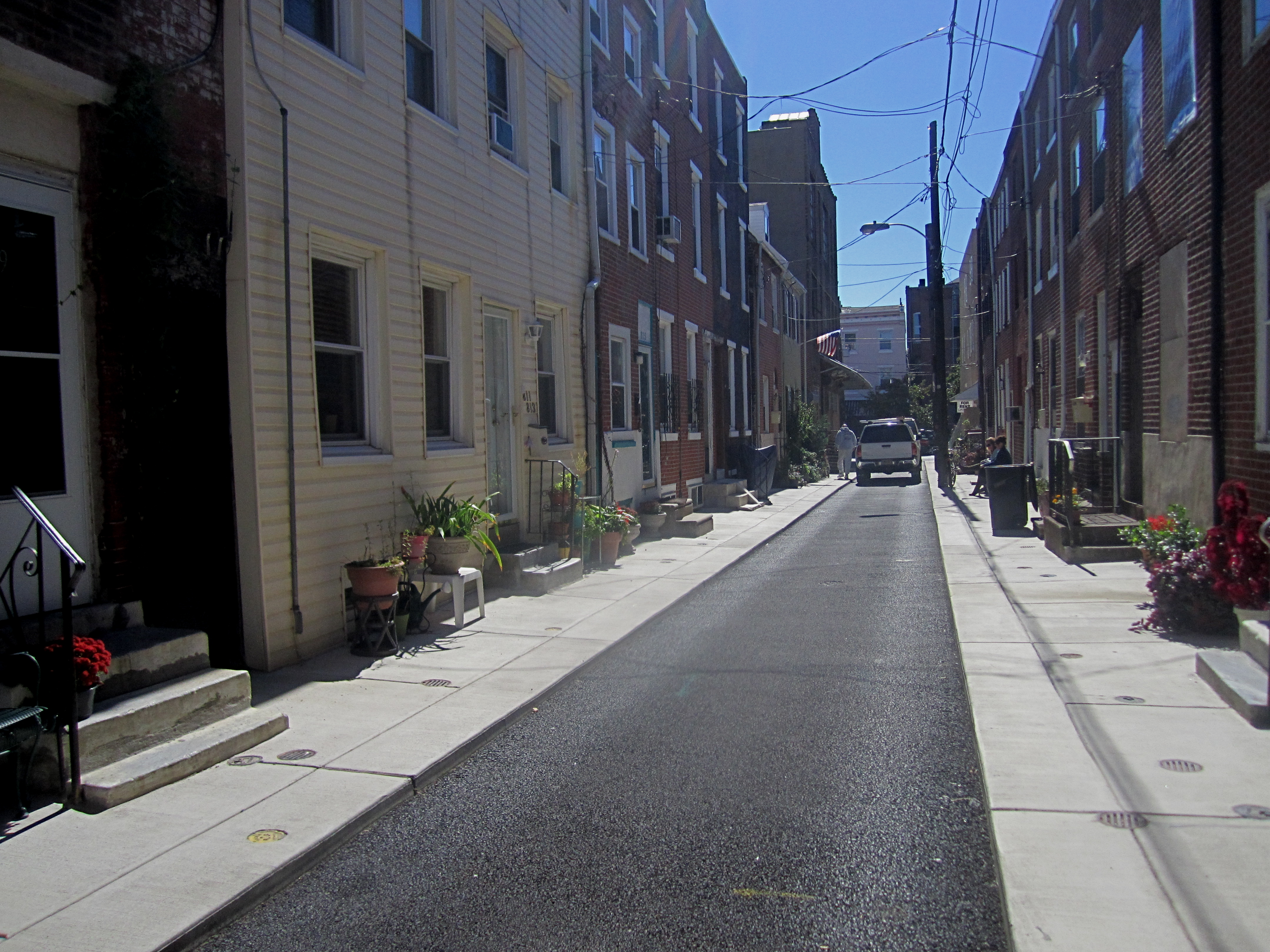 Percy Street is paved with porous asphalt which feeds into a stone bed below