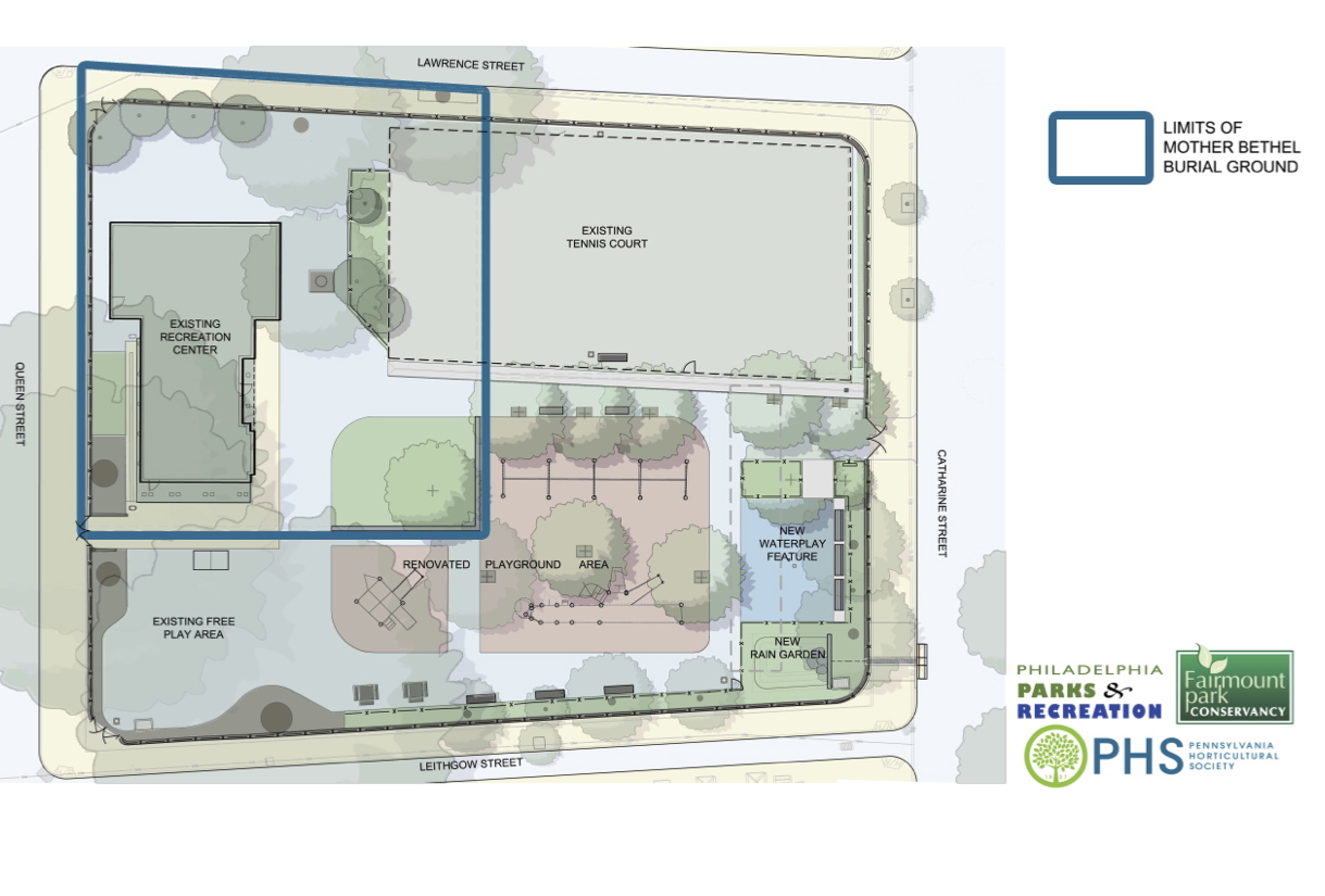 Proposed renovation of Weccacoe Playground, showing burial ground area.