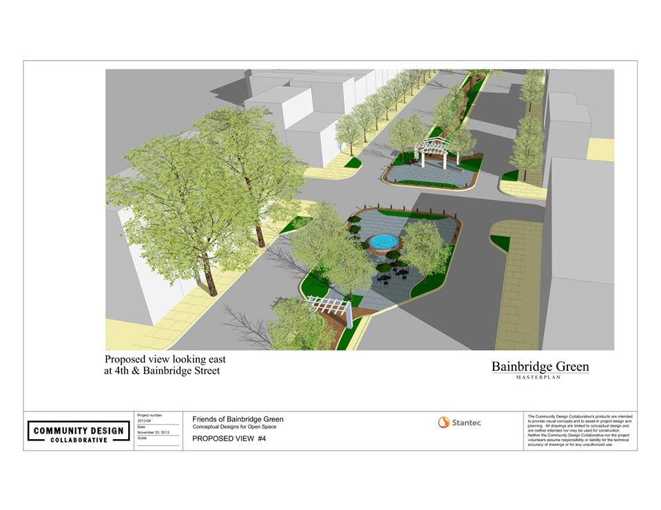Rendering of Bainbridge Green at 4th Street showing Fountain Plaza and Gateway Plaza | Community Design Collaborative
