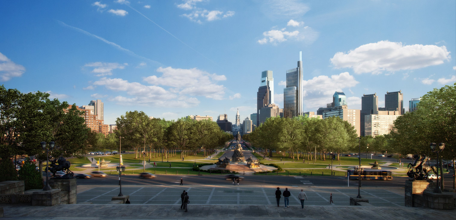 Rendering of Comcast Innovation & Technology Center | Foster + Partners