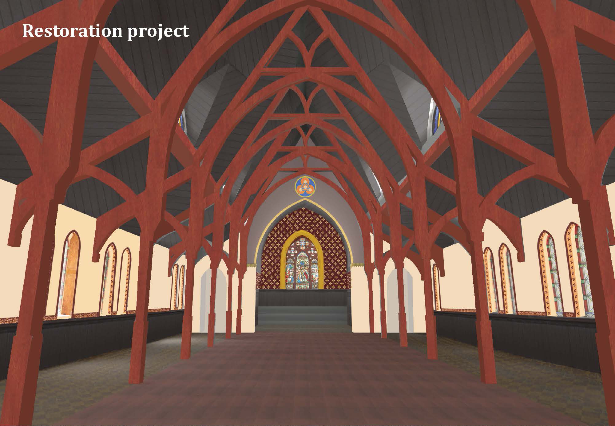 Rendering of restored interior, 19th Street Baptist Church | PennDesign, Graduate Program in Historic Preservation