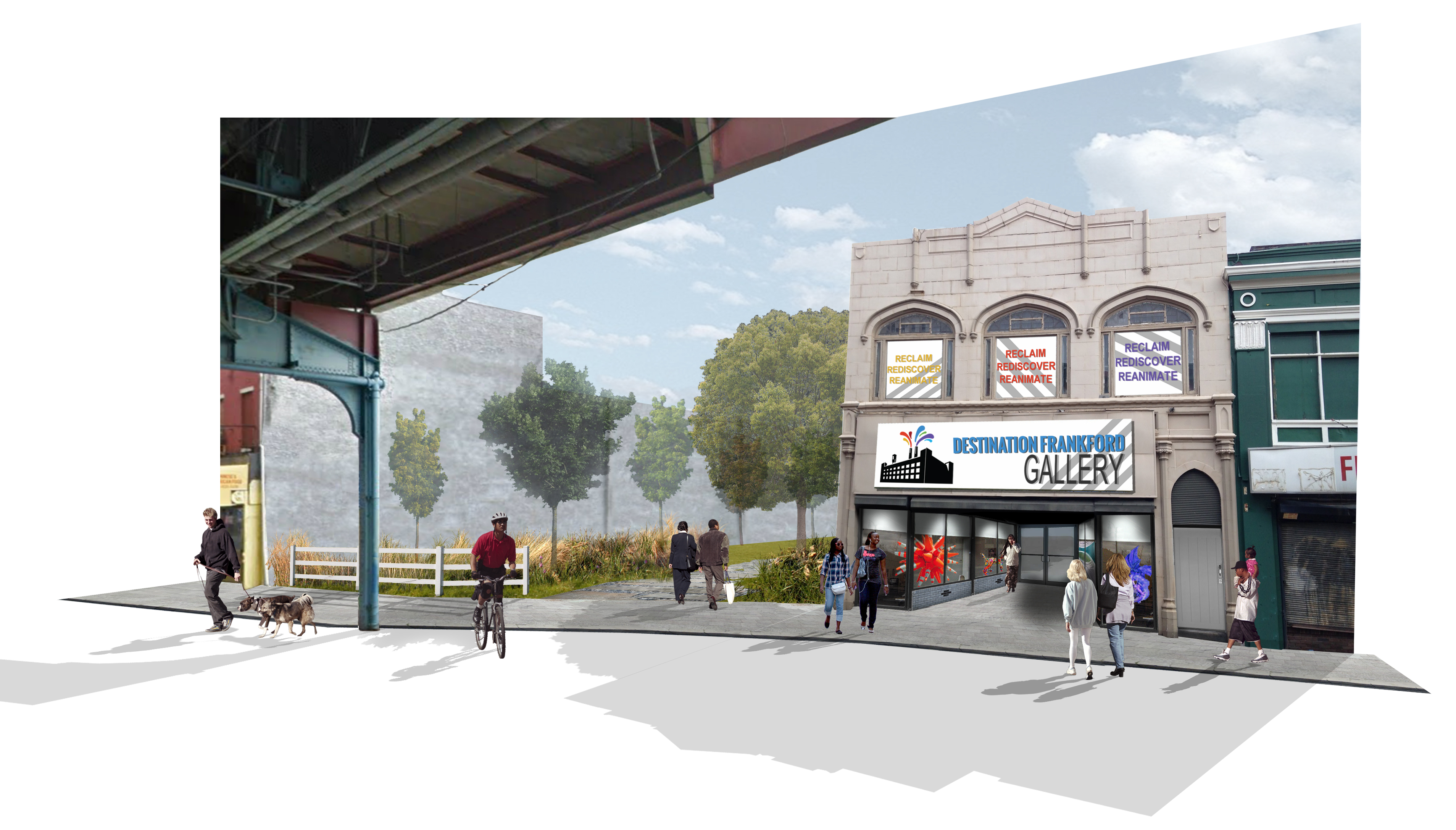 Rendering of the Destination Frankford Gallery, opening April 19, and the park next door, to be completed next year.