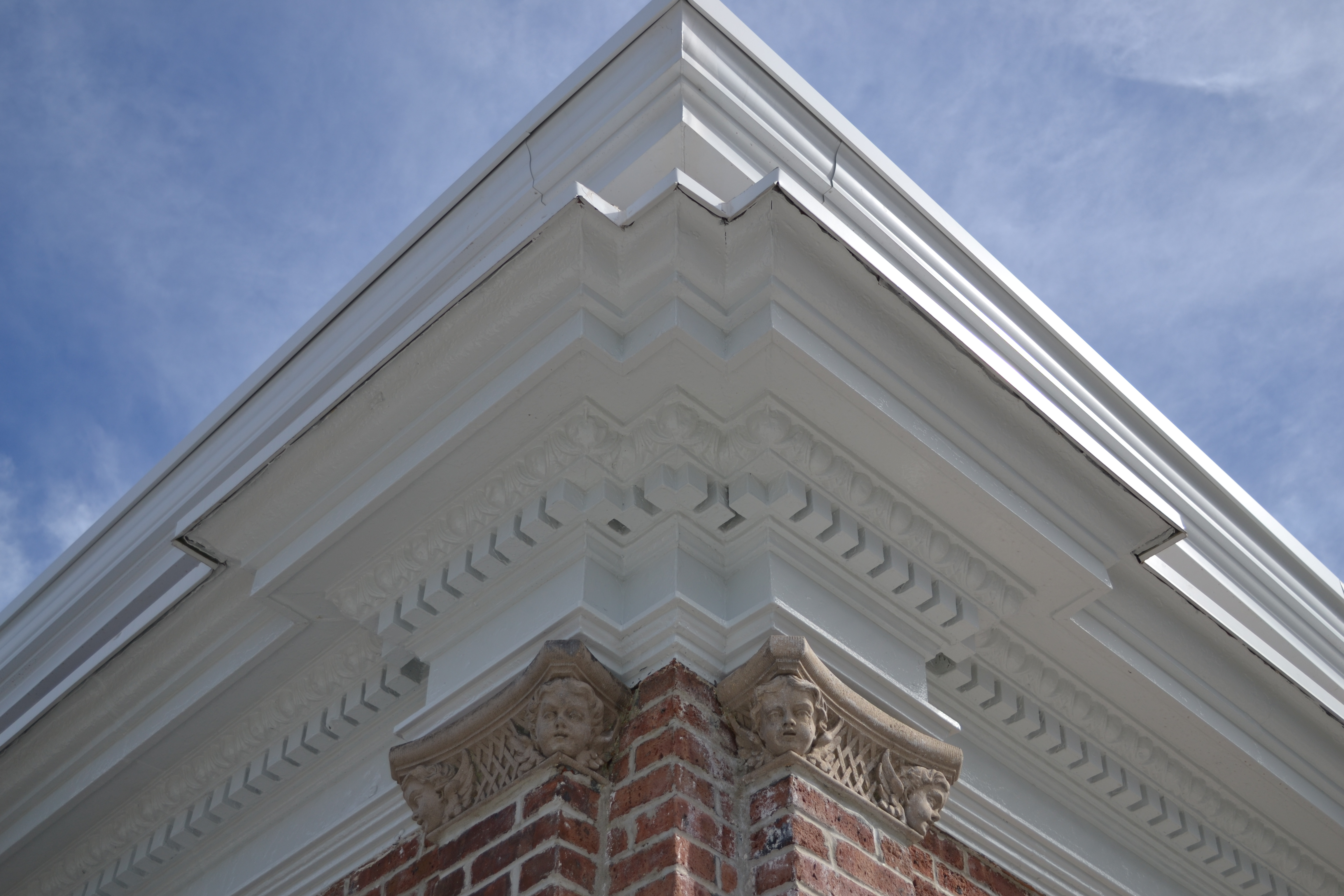 Roofline detail, including the cherubs