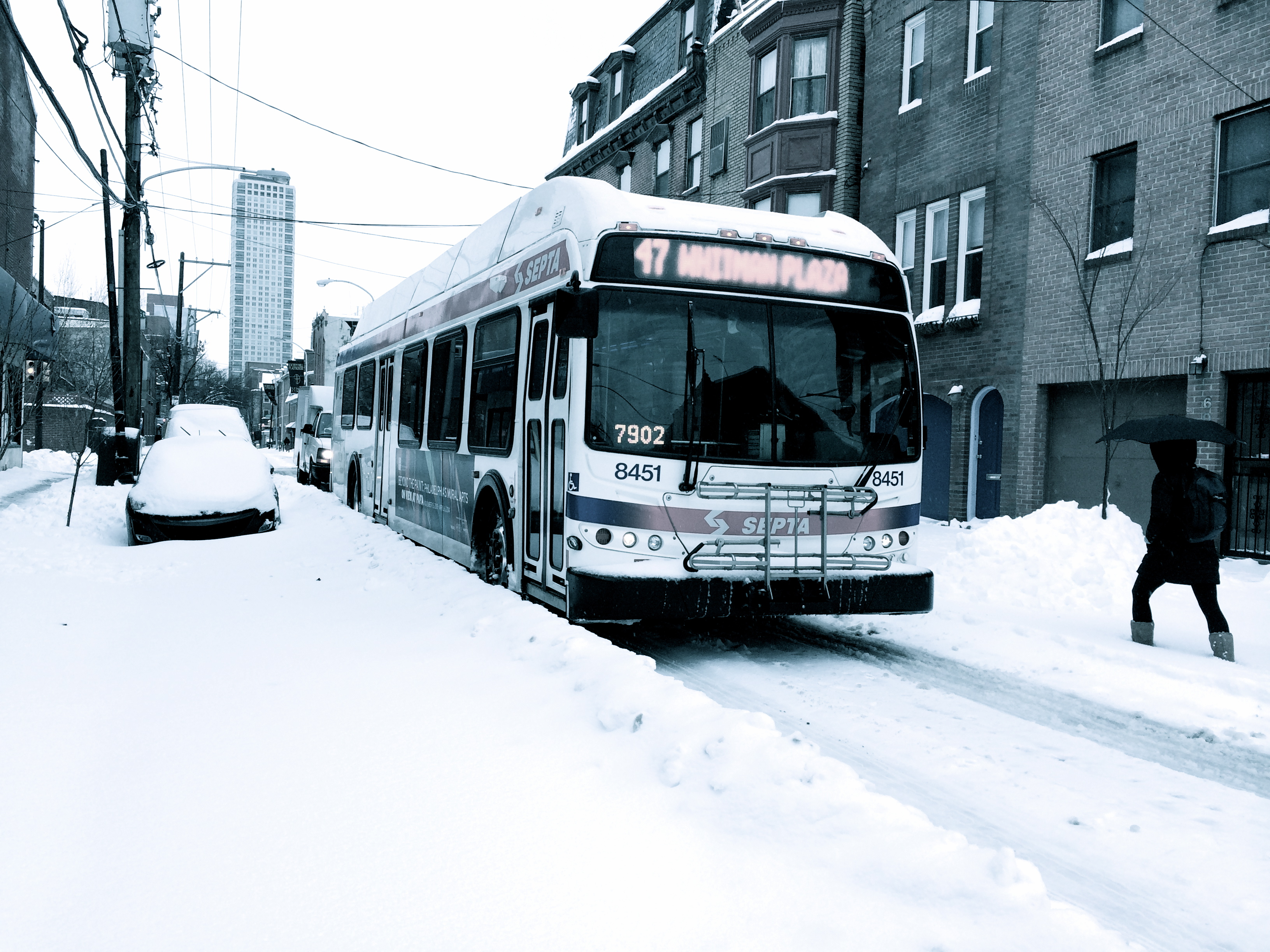 Route 47 in snow, February 13, 2014