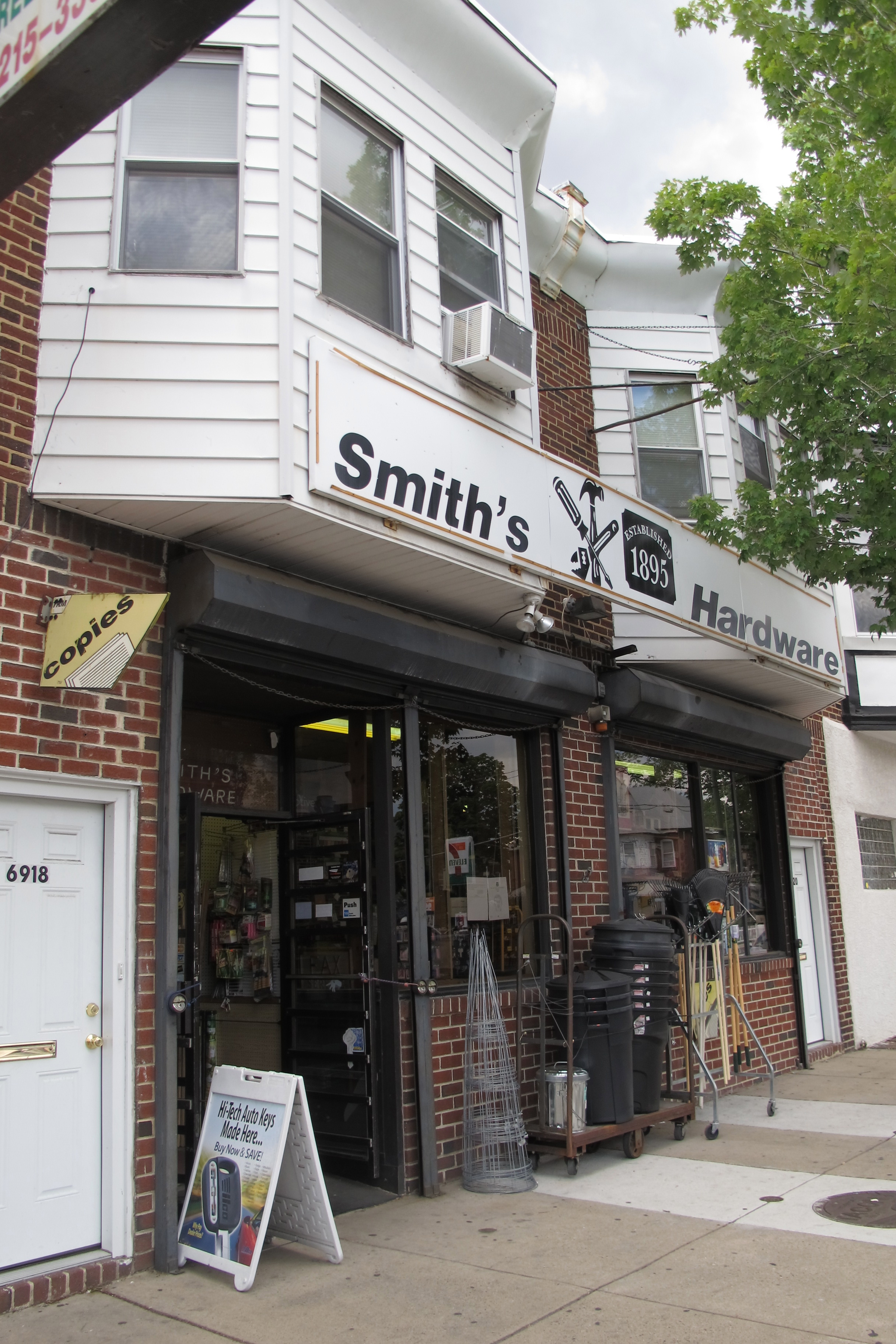 Smiths Hardware (6918 Torresdale) should soon have a new awning and woodwork where there's now siding.