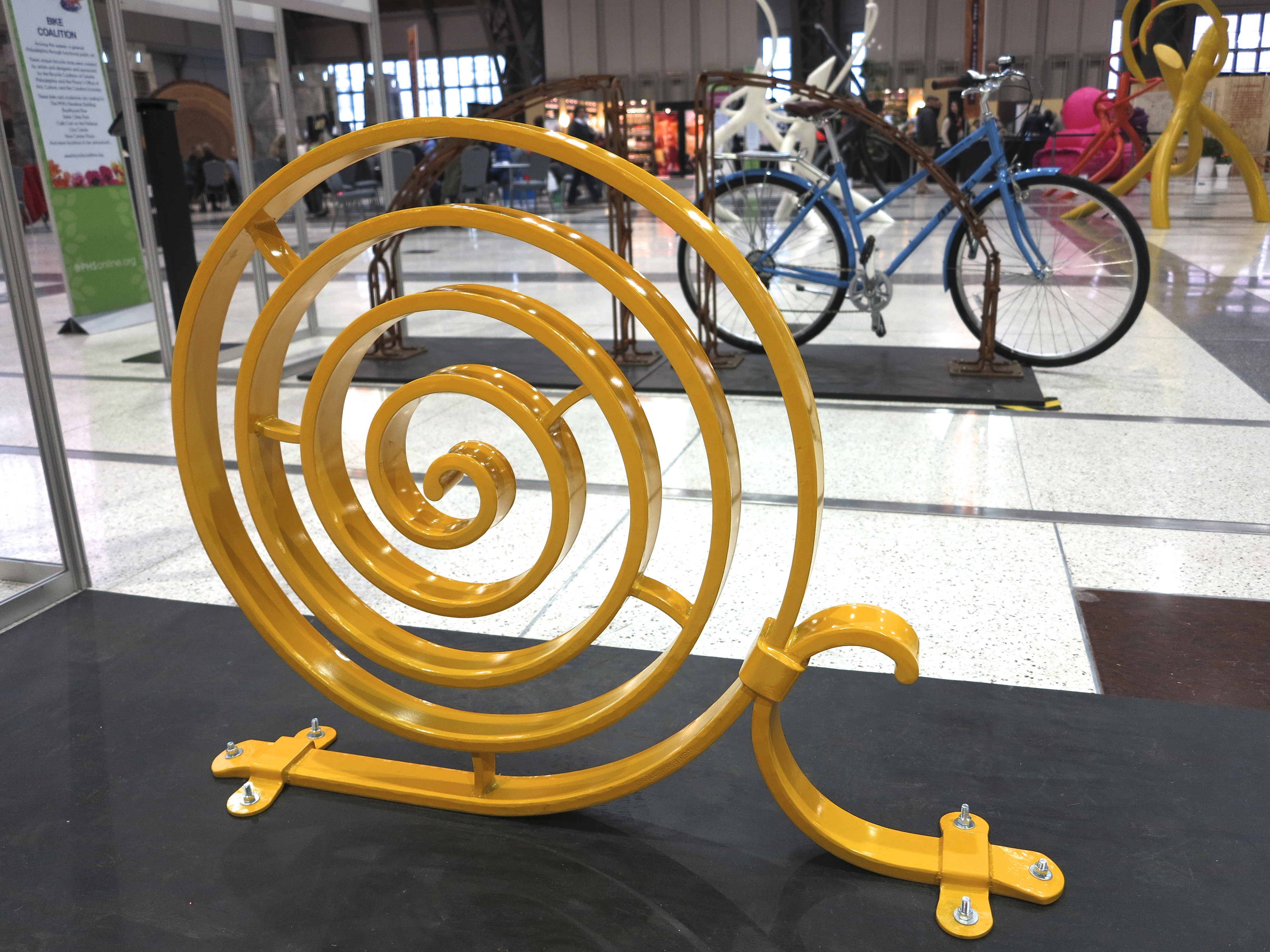 Spiral Bike Rack, by Collin Robinson (location: PMA's Perelman Building)