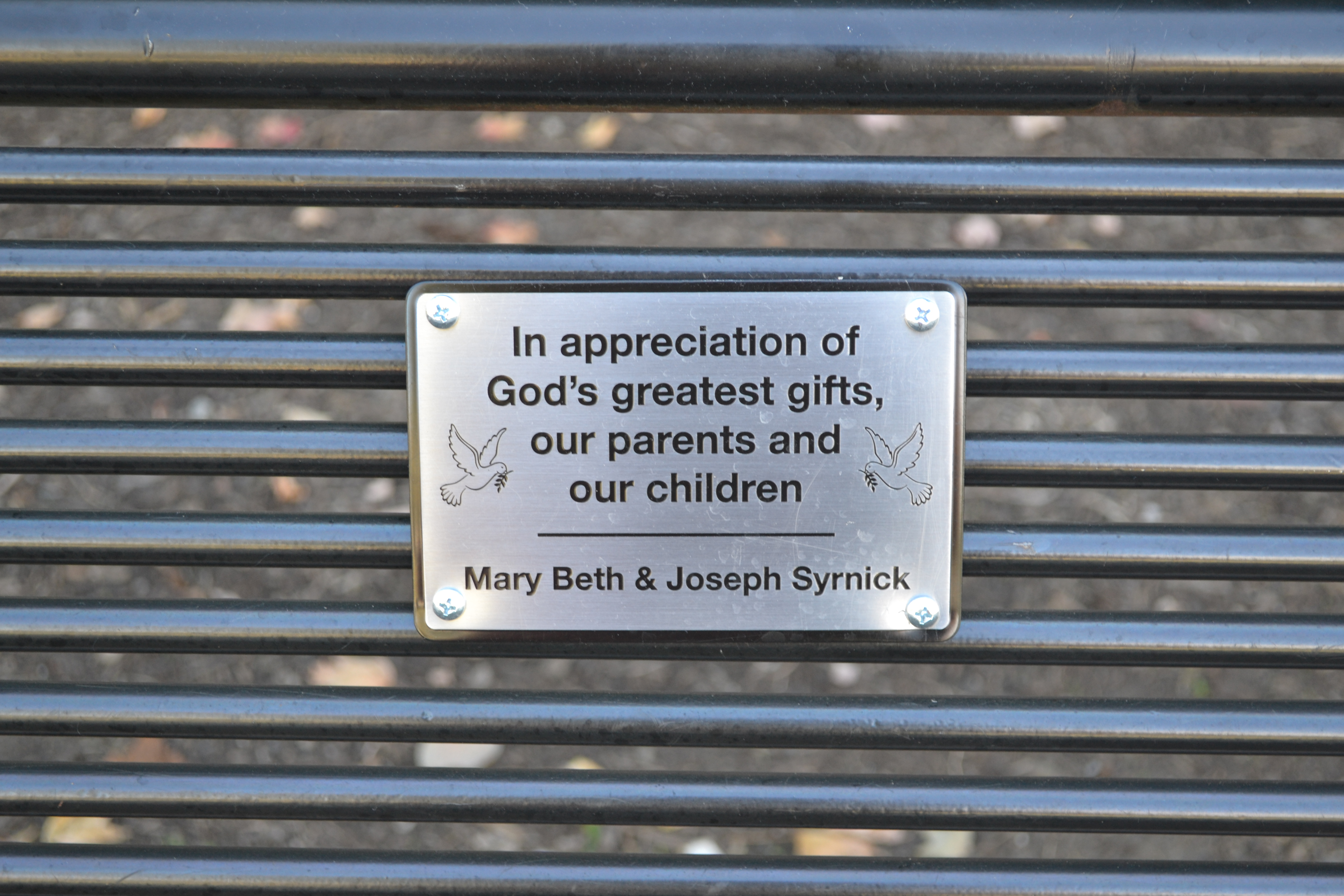 Sponsors receive a small, personalized plaque