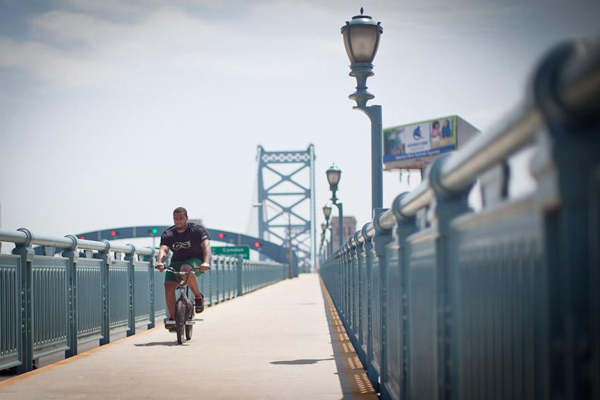 The Ben Franklin Bridge was built with room to accomodate bicycles and pedestrians, Photo by Neal Santos