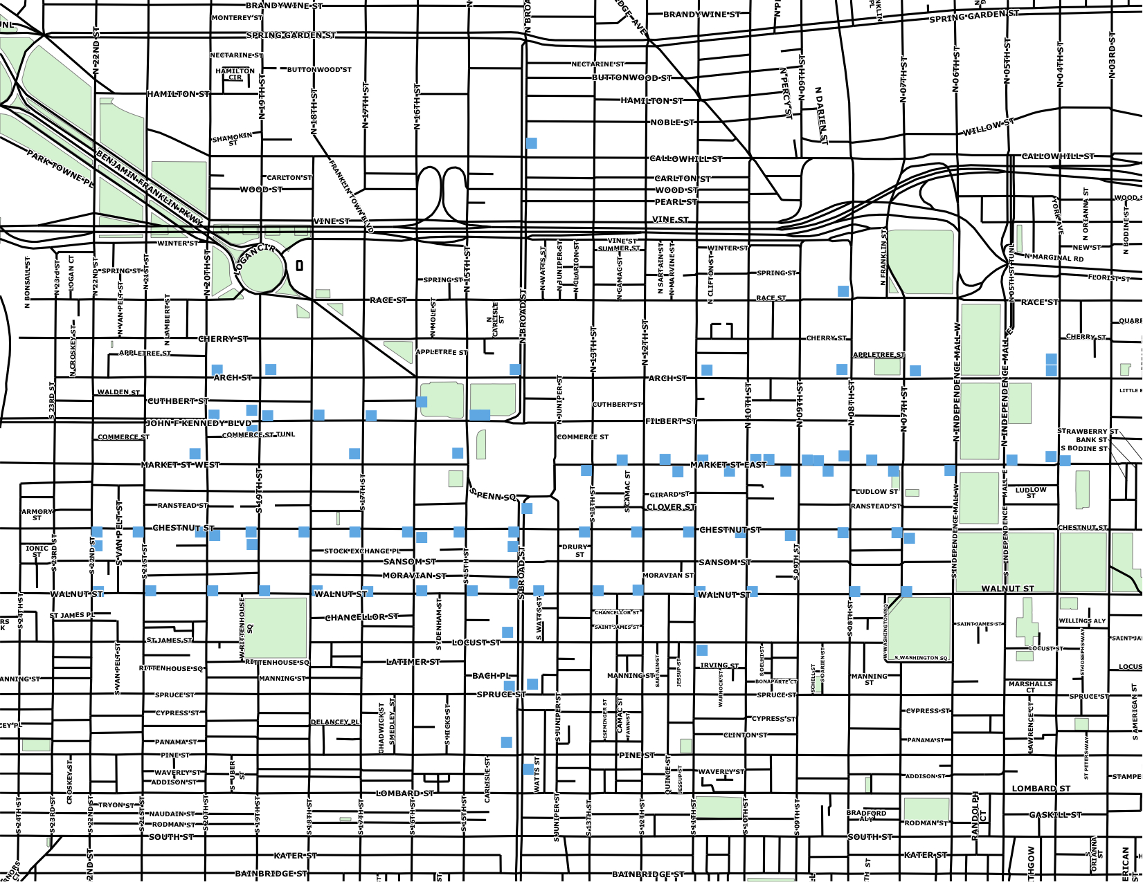 The blue squares show which bus shelters have Center City District route maps