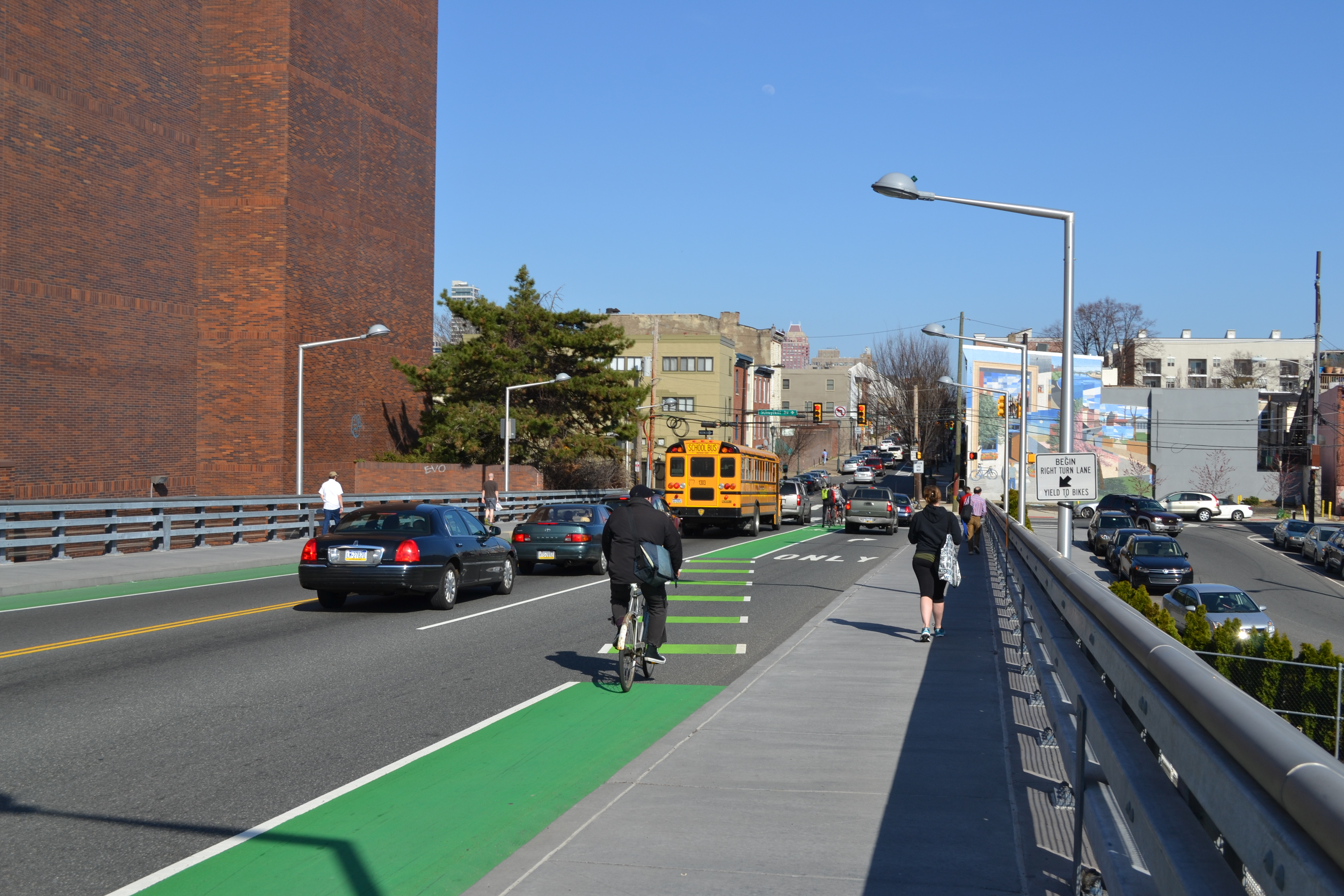 The current bike lane shifts near the Schuylkill Ave end of the bridge