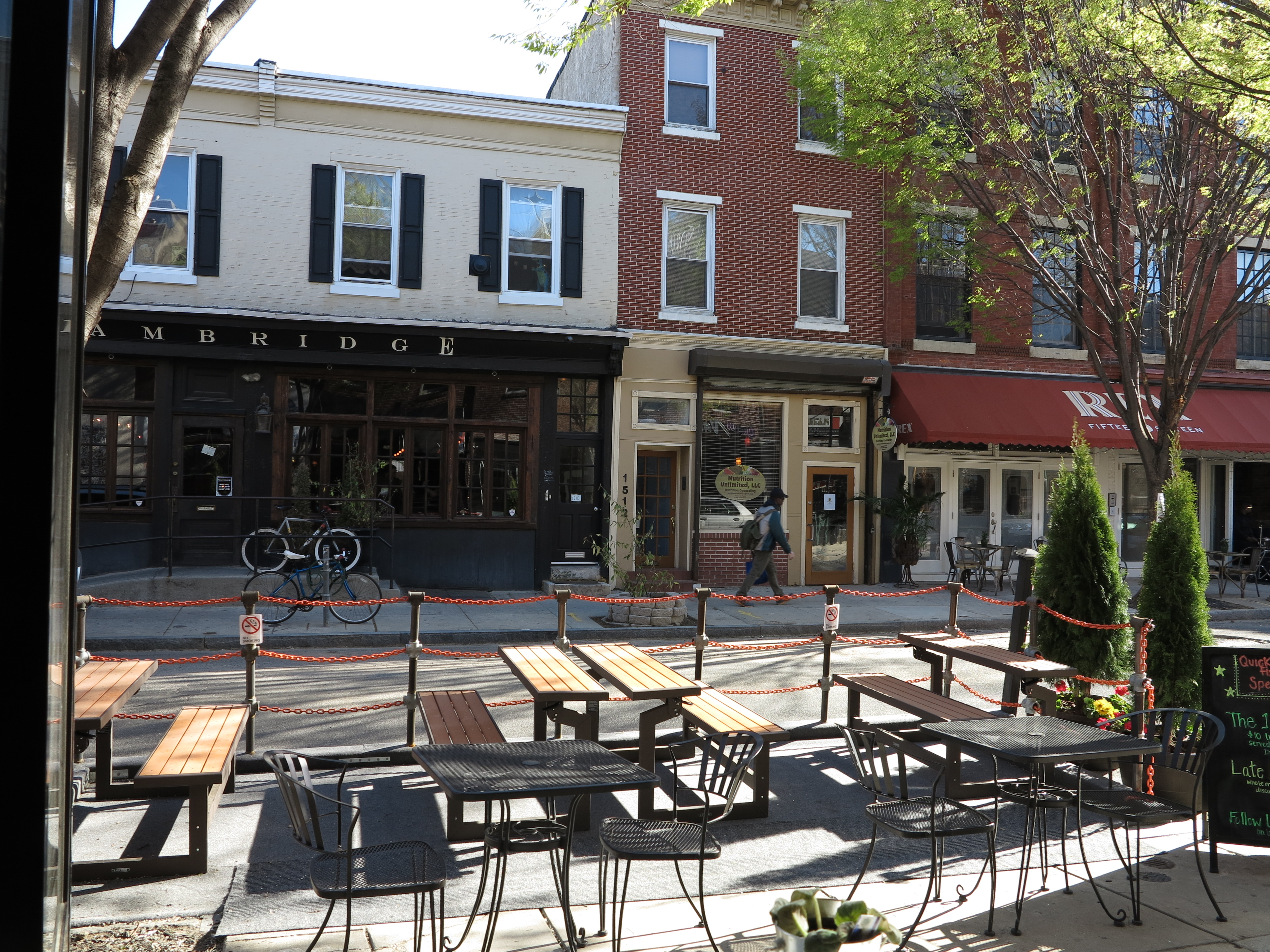 The new parklet and The Quick Fixx's outdoor seating on the 1500 block of South Street.
