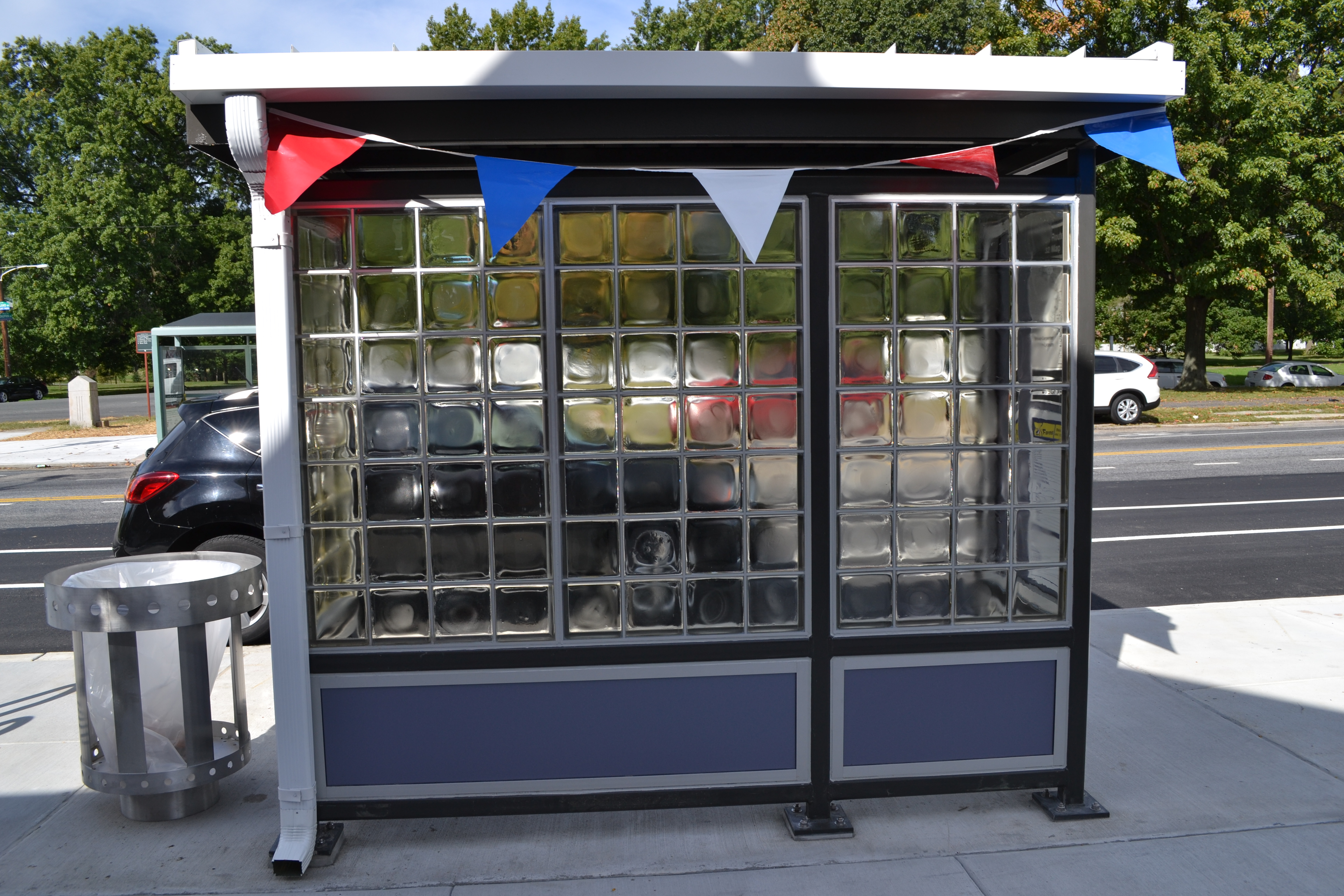 The project included installing new bus shelters around the perimeter of the bus loop