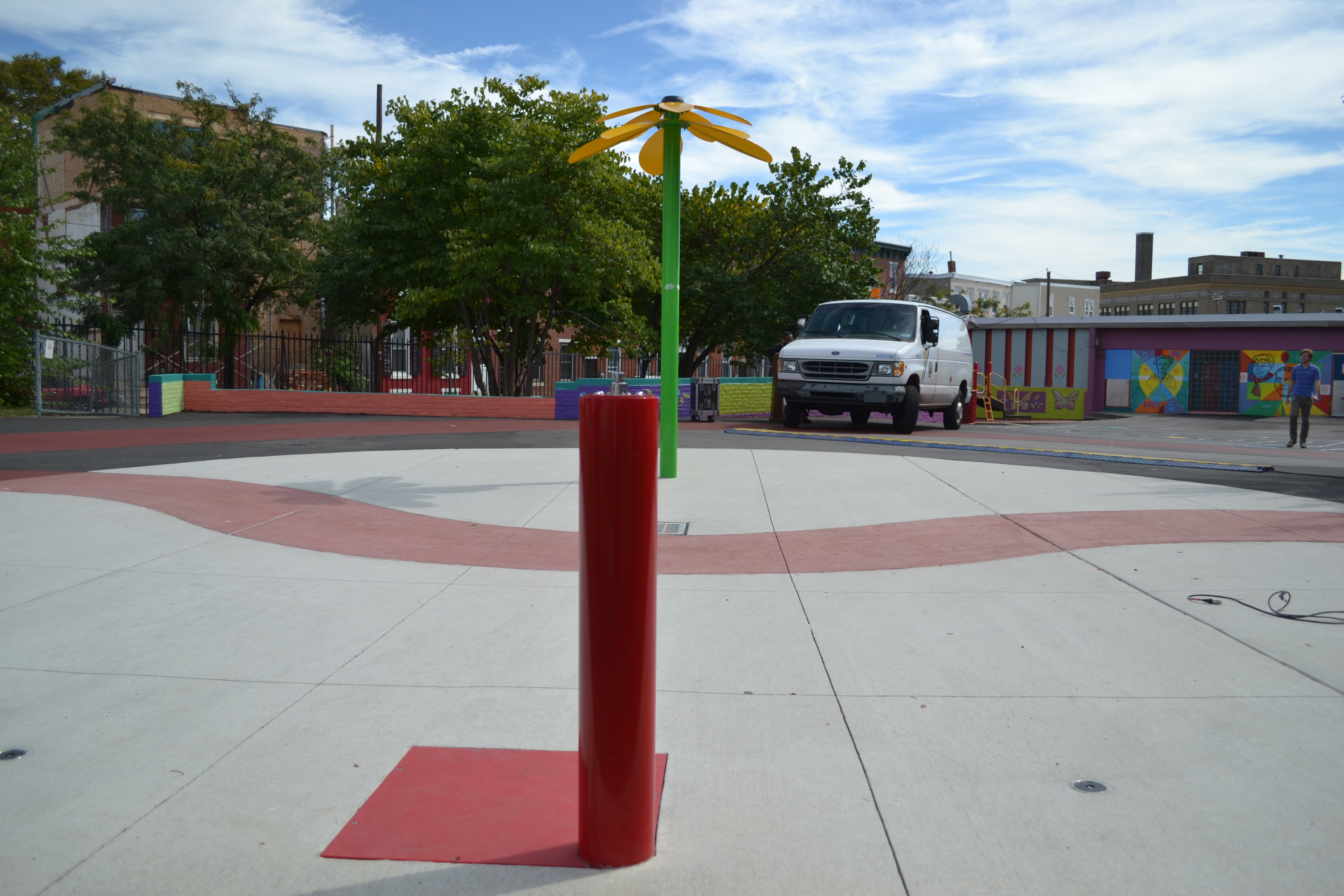 The renovated sprayground will be operated by a push button to conserve water