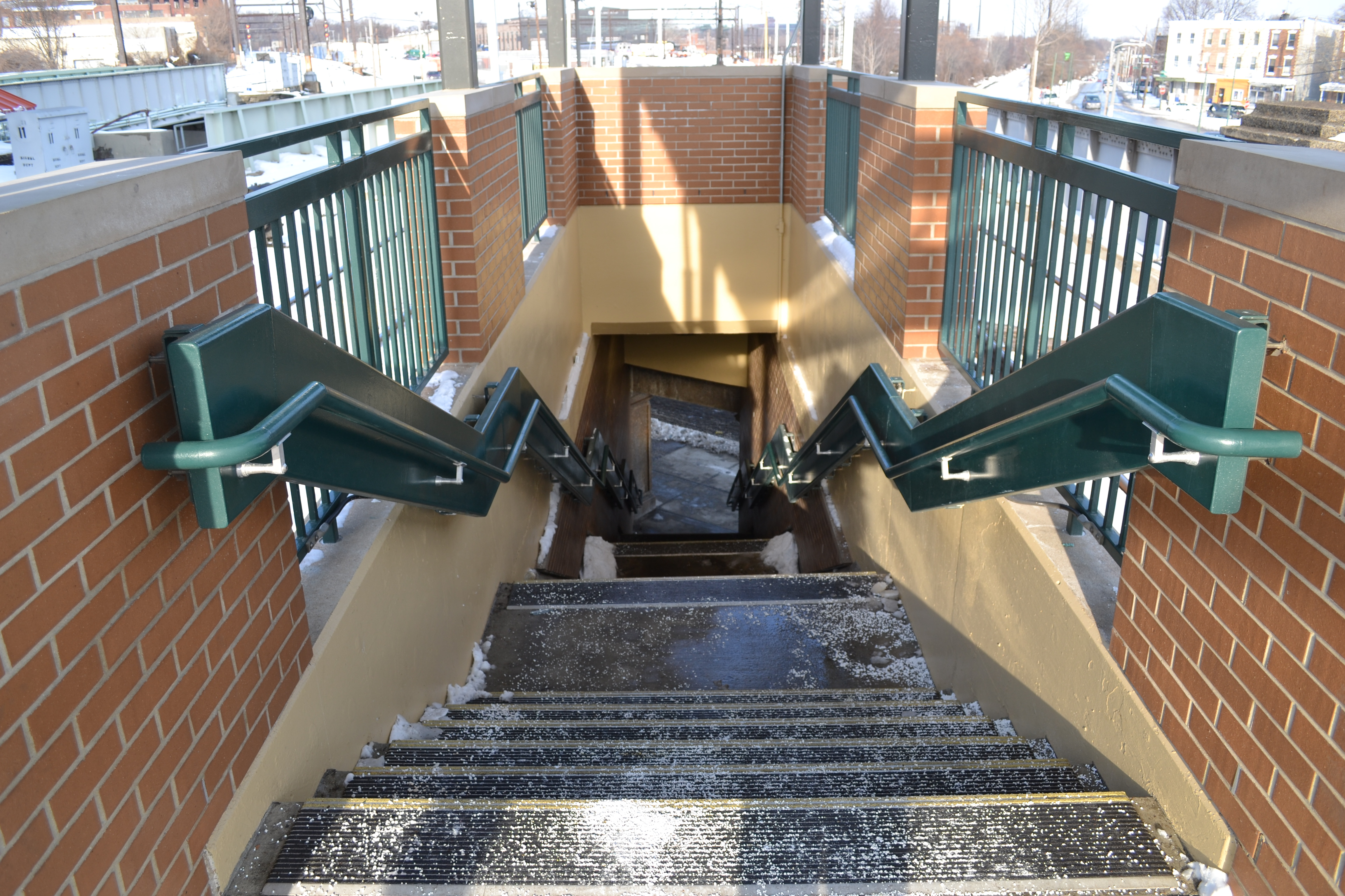 The stairs to the outbound platform have been revamped