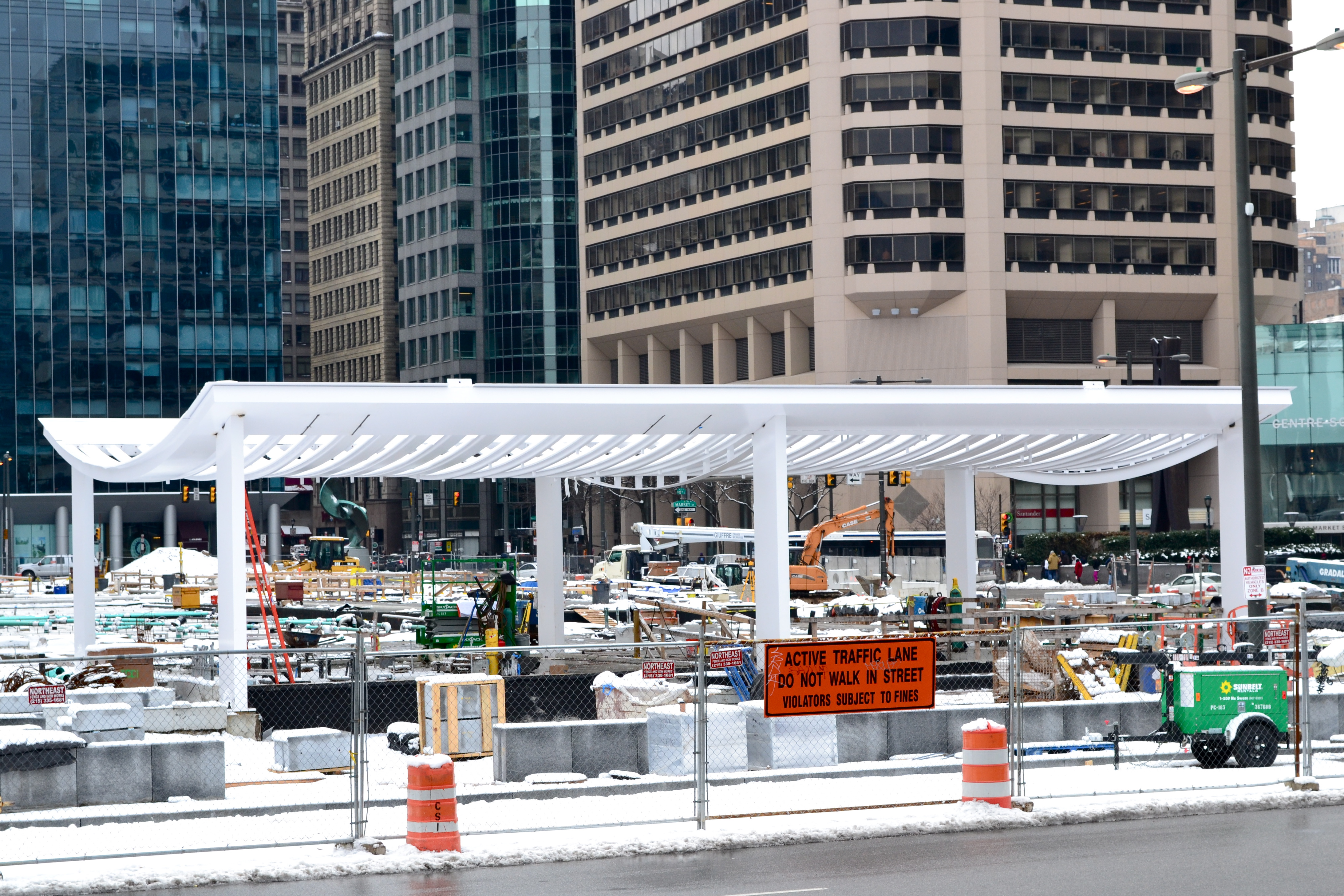The structure at the north end of Dilworth Plaza is now in place