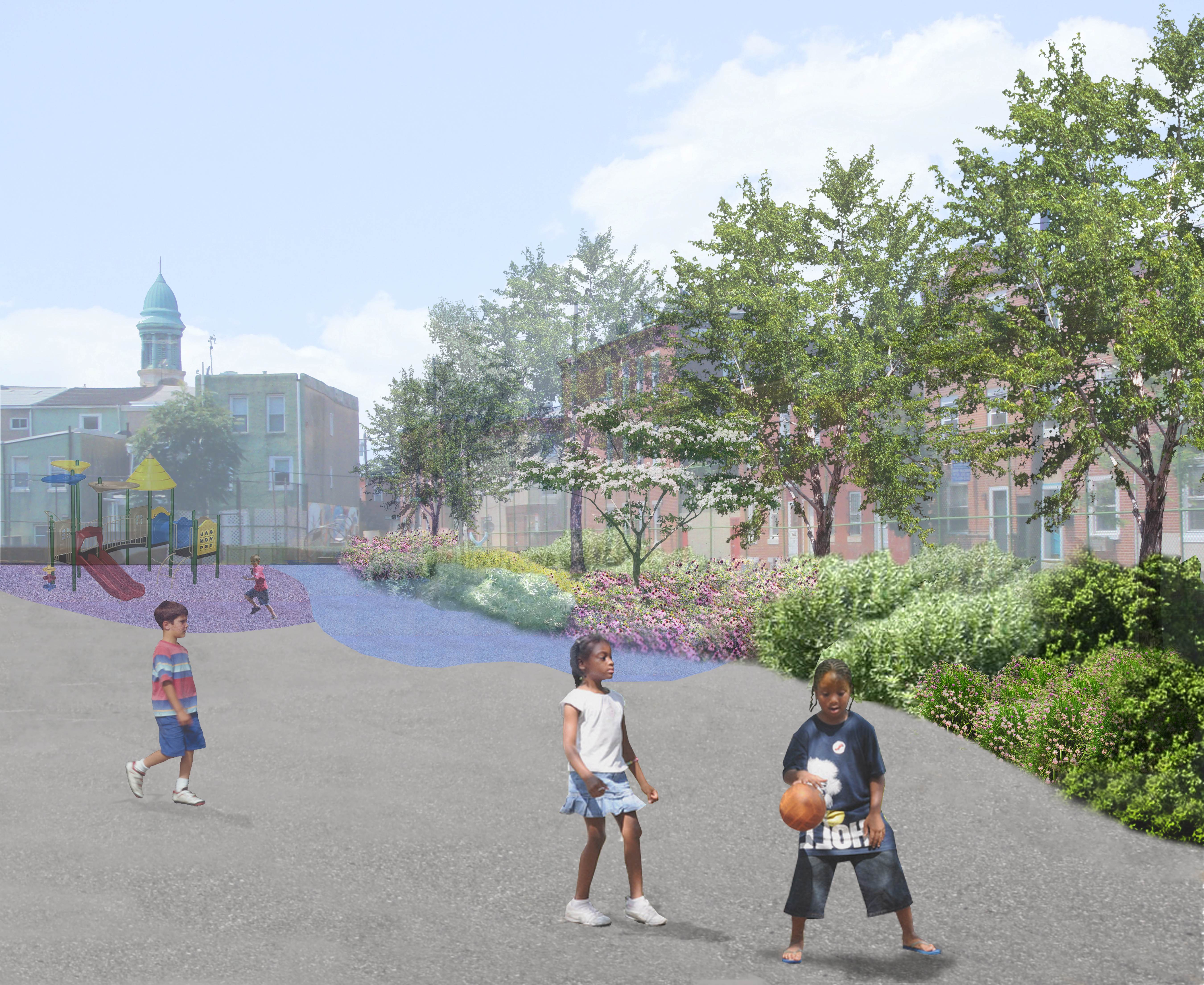 Three schools will receive the full PWD green stormwater management makeover, Rachel Ahern for the Philadelphia Water Department
