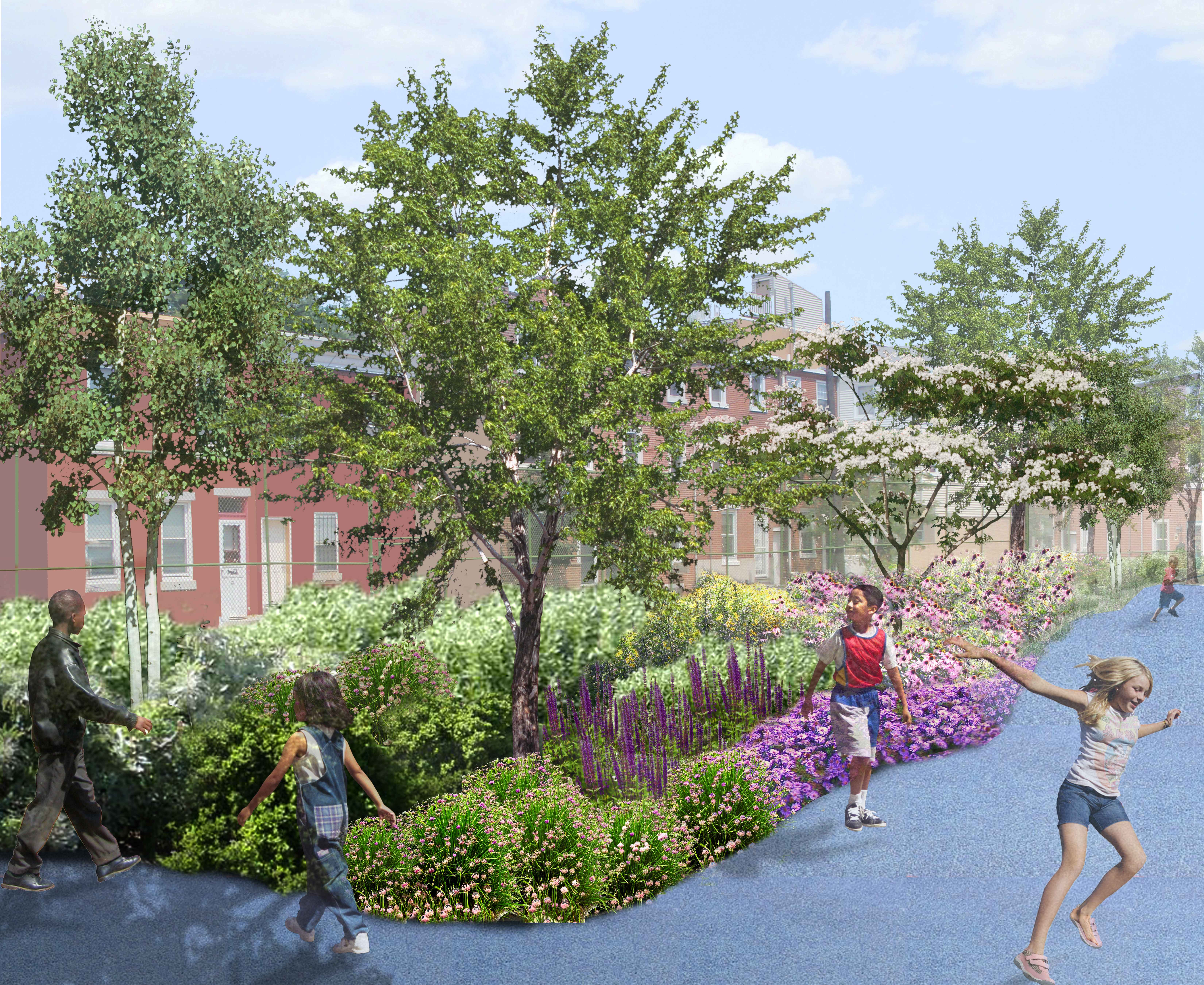 Three schools will receive the full PWD green stormwater management makeover, Rendering by Rachel Ahern for the Philadelphia Water Department