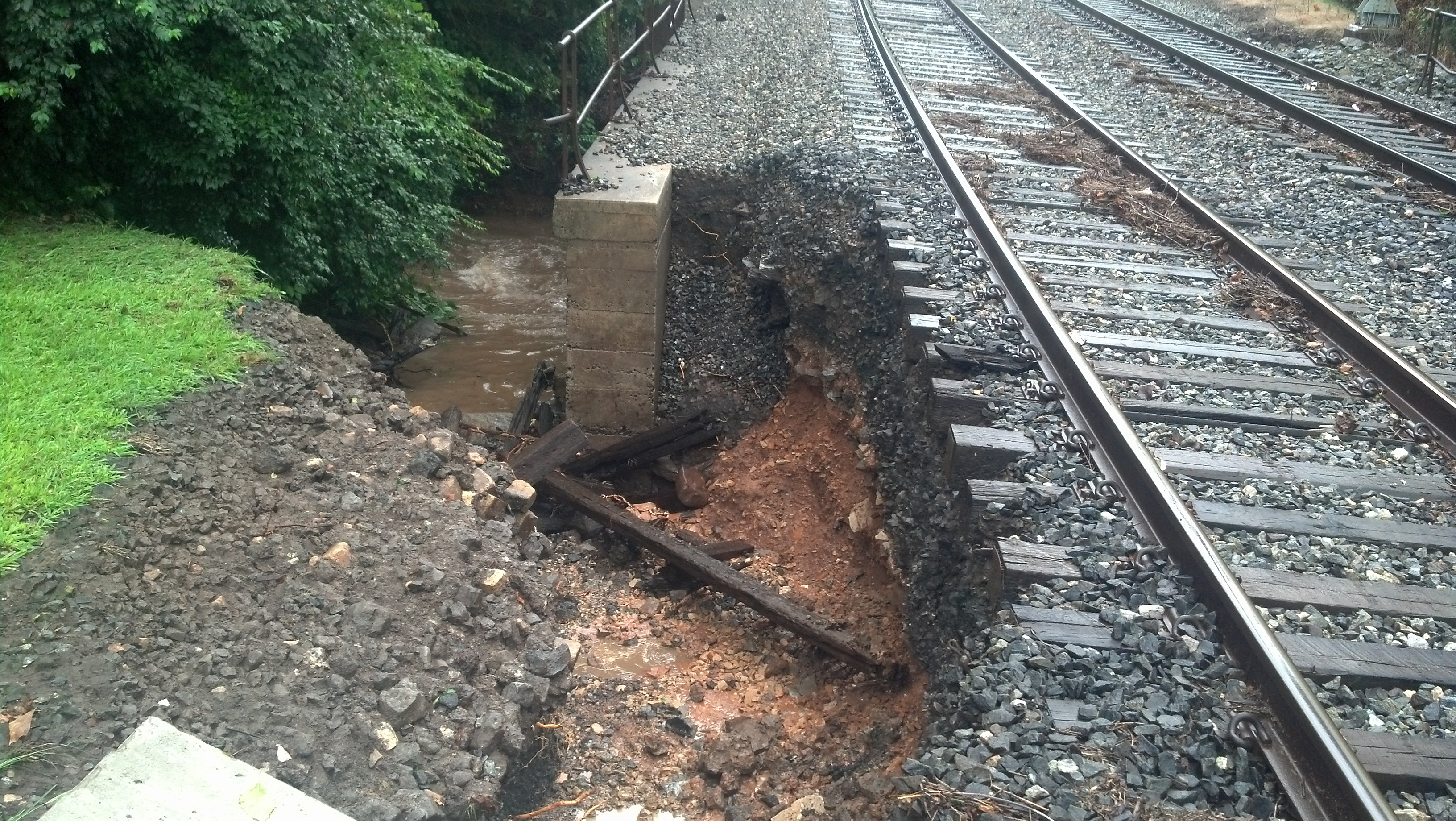 Track damage near Spring Mill Station on the Manayunk/Norristown Line, Photo Credit SEPTA